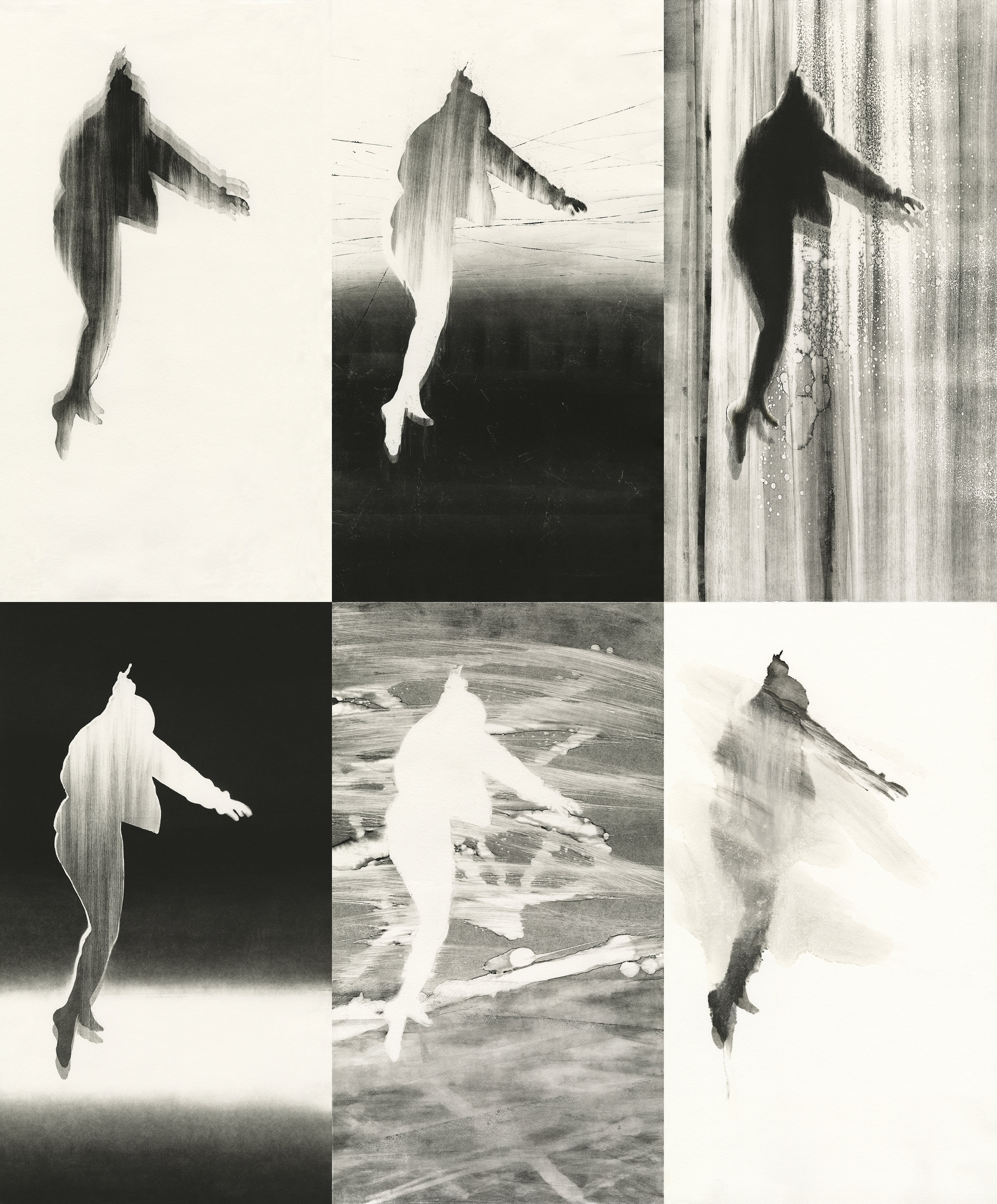 """THIRD PLACE  - Rozanne Hermelyn Di Silvestro   """"Falling and Rising on the Other Side""""   Monotype, oil on paper"""