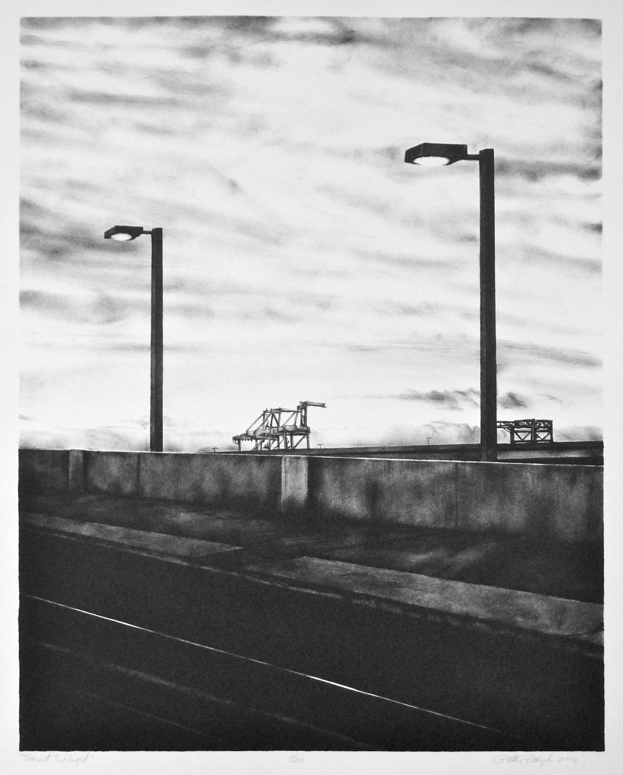 """HONORABLE MENTION  - Peter Baczek   """"Transit Twilight""""   Lithograph"""