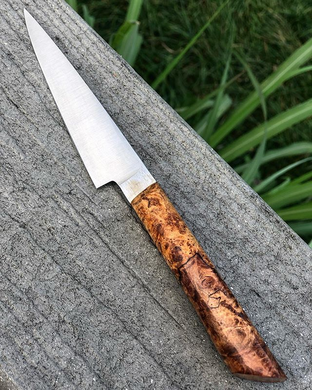 "*SOLD*4"" slim AEB-L paring knife with spalted maple burl and hidden pins. Cored a quart of strawberries with it this morning and it just whispers through. We really like this little blade.  #handmade #paring #knife #foodie #garden #hoosier #hoosierfoodie #indy #artisan #smallbusiness #localbusiness"