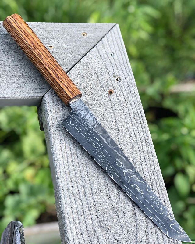 "Damascus gyuto with zebrawood wa handle. Fairly thin with a 48"" radius ground main bevel leaves this thing feeling like a light saber through produce.  #handcrafted #artisan #handmade #gyuto #chefknife #kitchenknife #laser #indy #indianapolis #hoosier #foodie #hoosierfoodie #makersgonnamake #bonappetit"