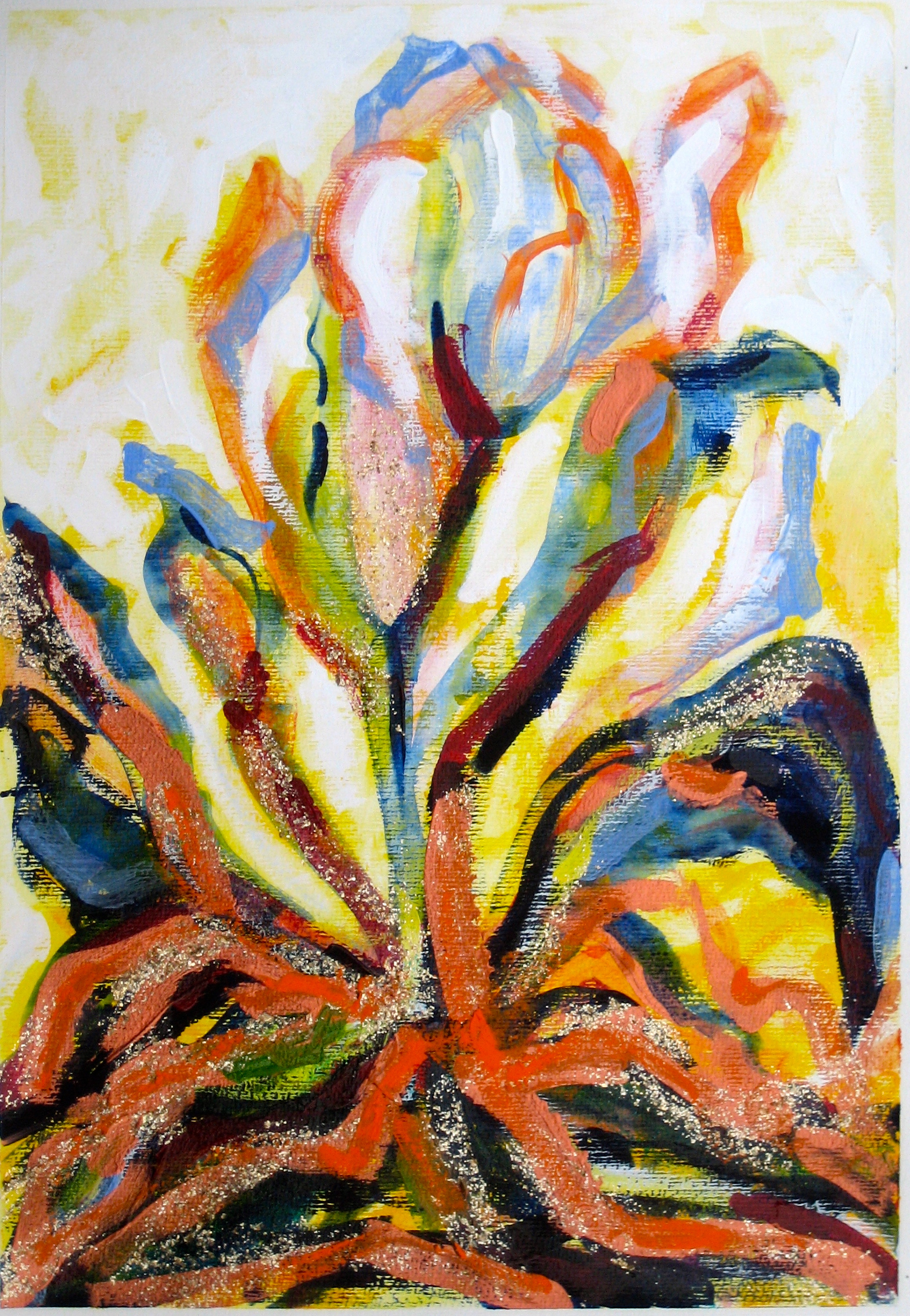 fifth Transformation of Archetypal Plant  acrylic on paper 18in x 24in
