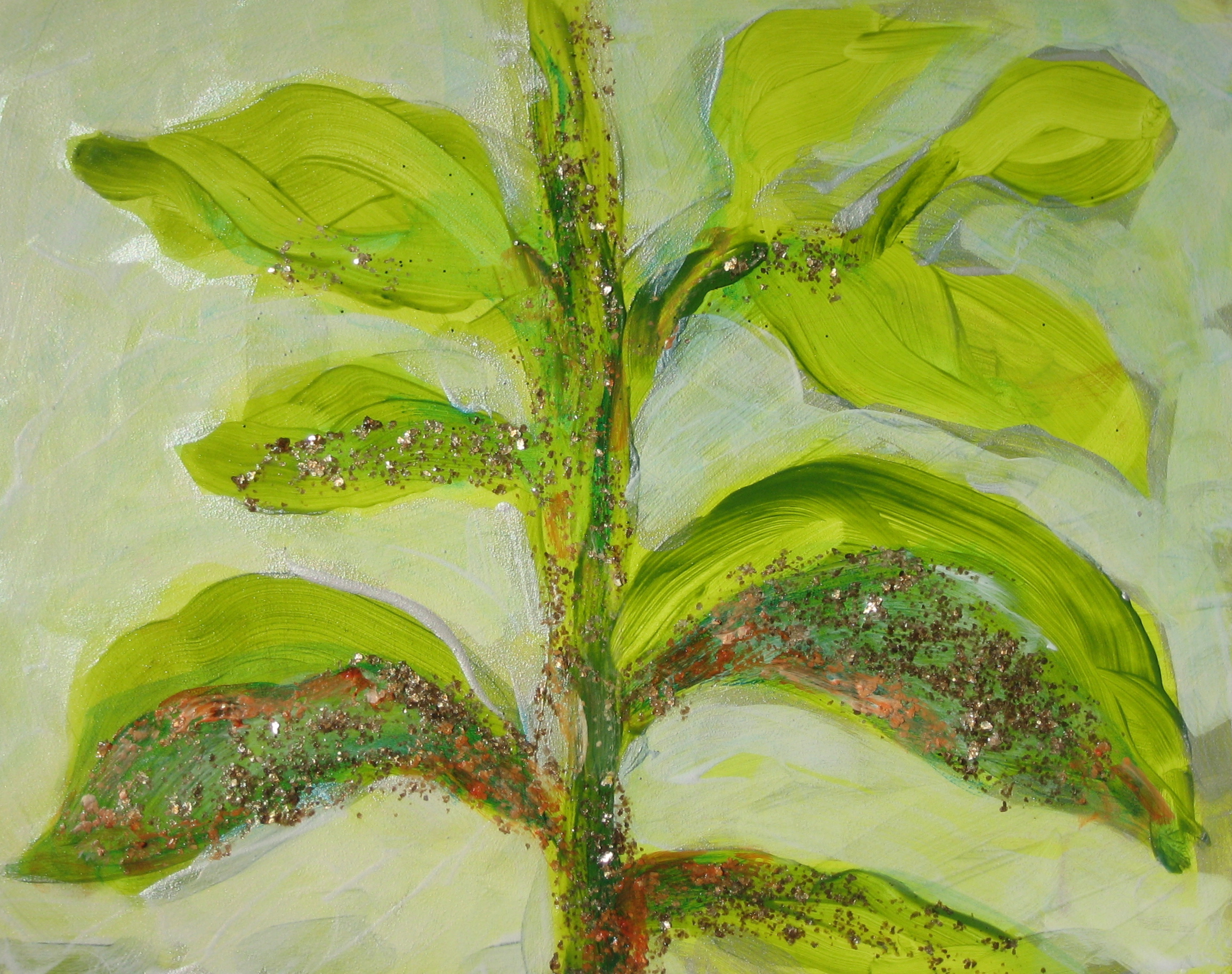 Transformation of Archetypal Plant - stem  acrylic on wood panel 10in x 12in