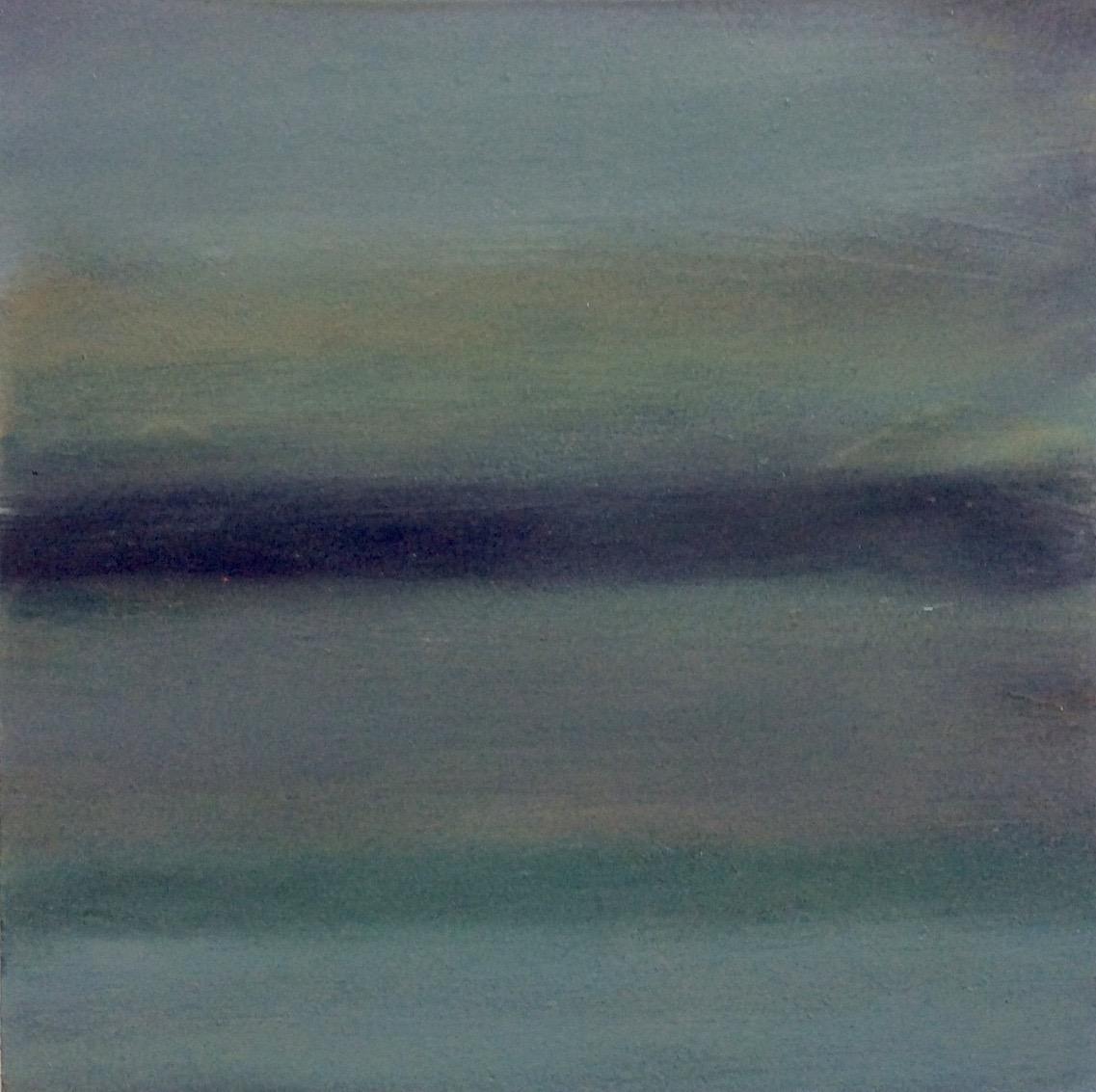 """Transcending Blue # XIII  oil on wooden board 6""""x 6"""""""