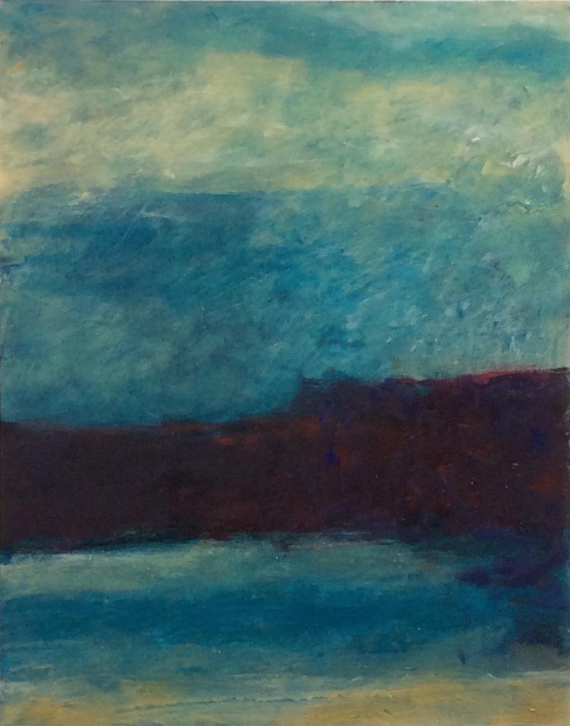 "Transcending Blue # VII  oil on wooden board 11""x 14"""