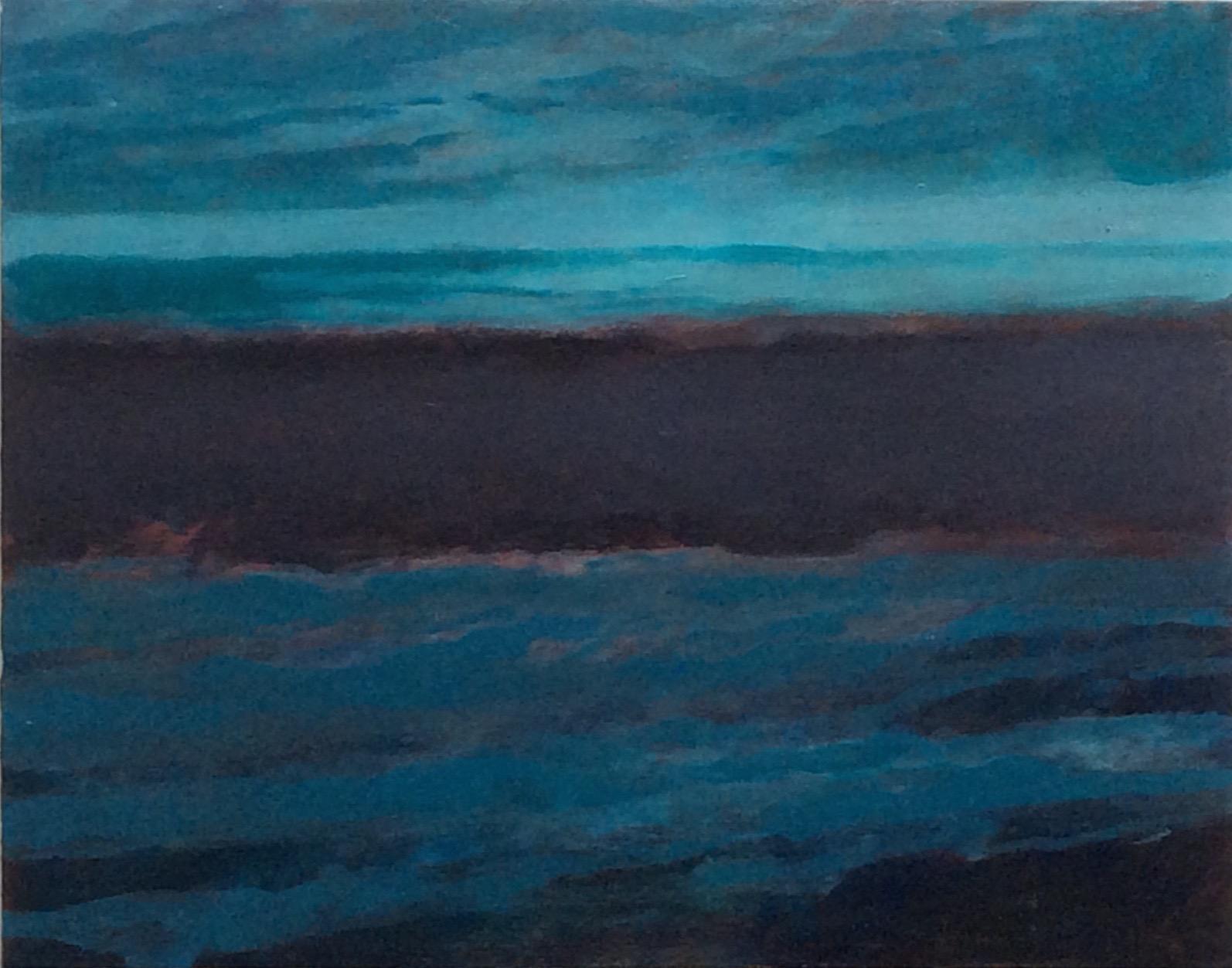 "Transcending Blue # VI  oil on wooden board 11""x 14"""
