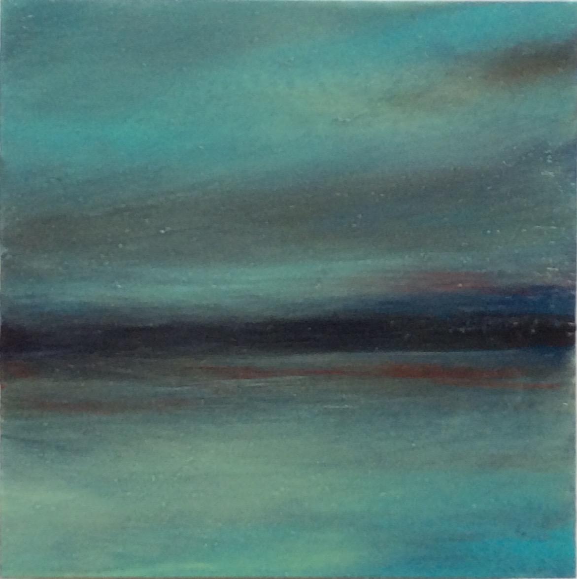 """Transcending Blue # XVI  oil on wooden board 5""""x 5"""""""