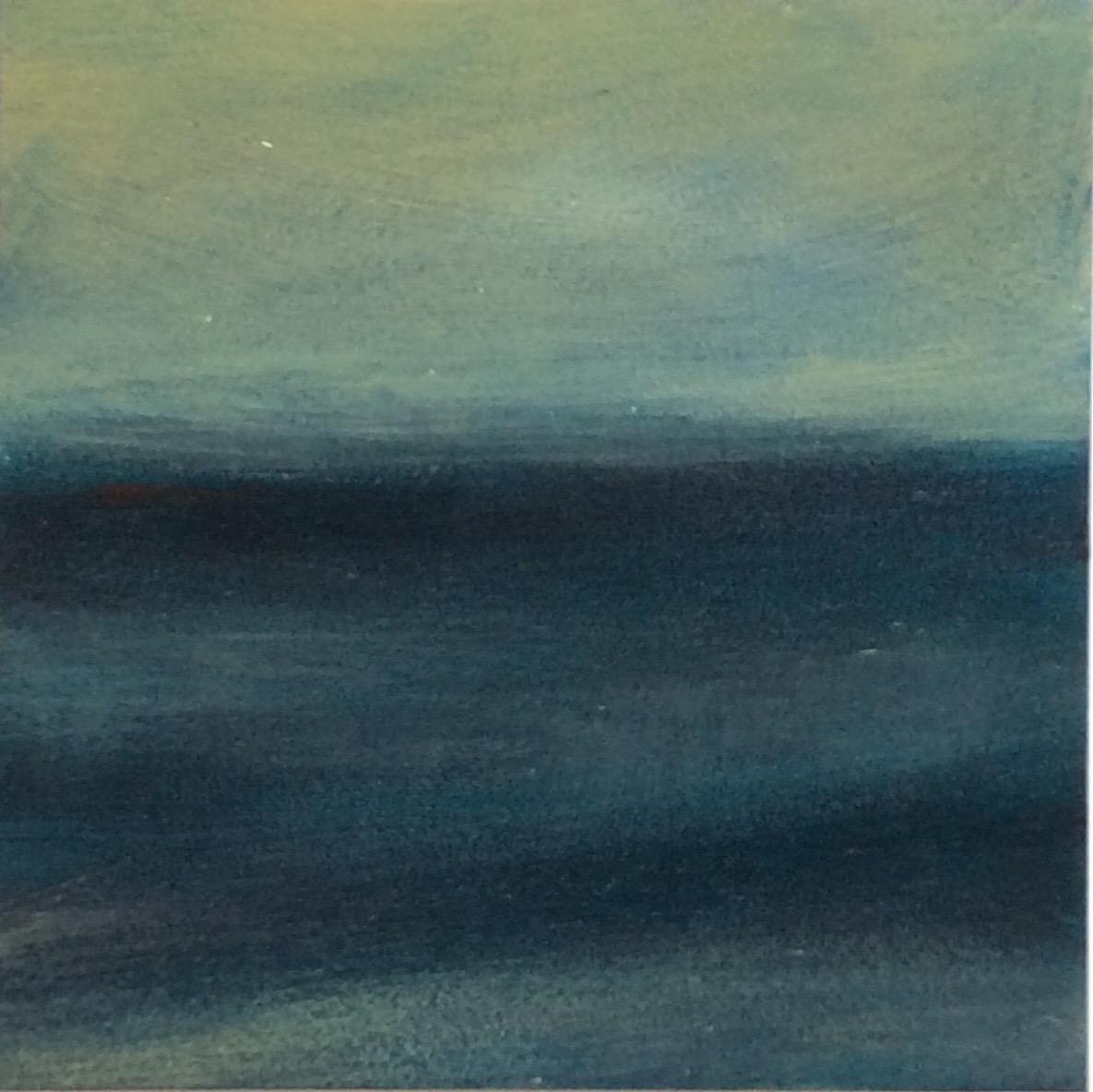 """Transcending Blue # XIX  oil on wooden board 6""""x 6"""""""