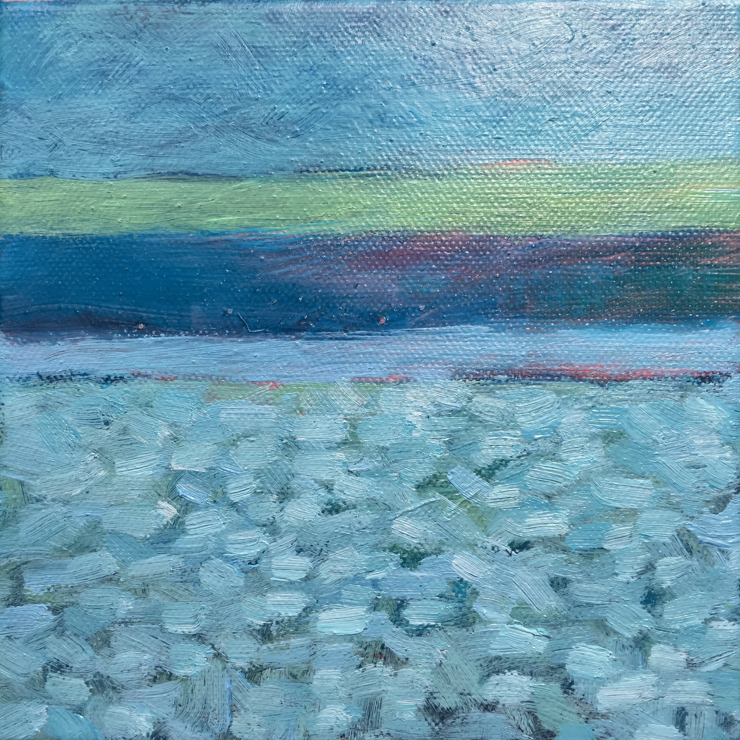 "Open Horizontal Fields # XII  oil on canvas 6""x 6"""