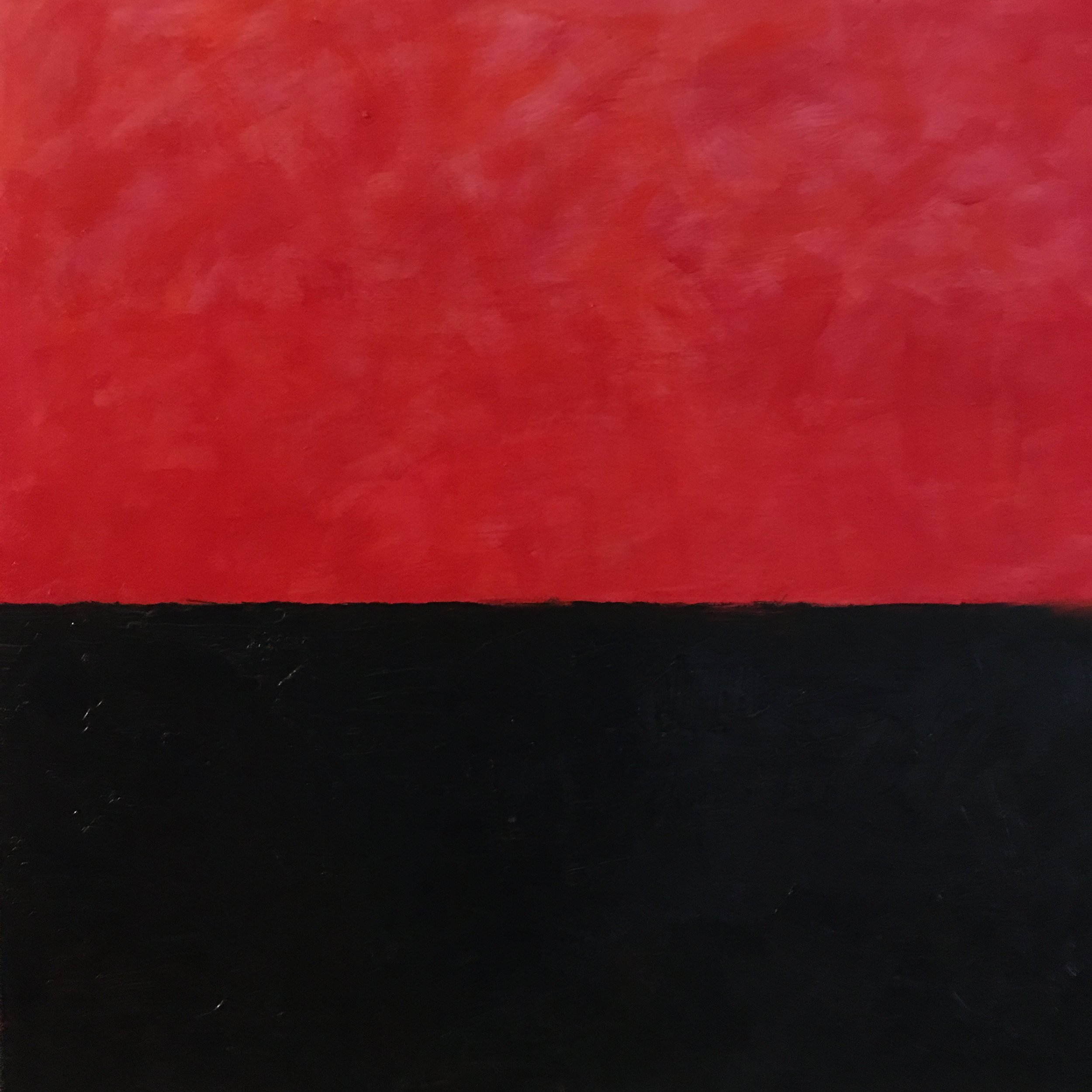 In- Between Red # III  oil on canvas 18' x 18""