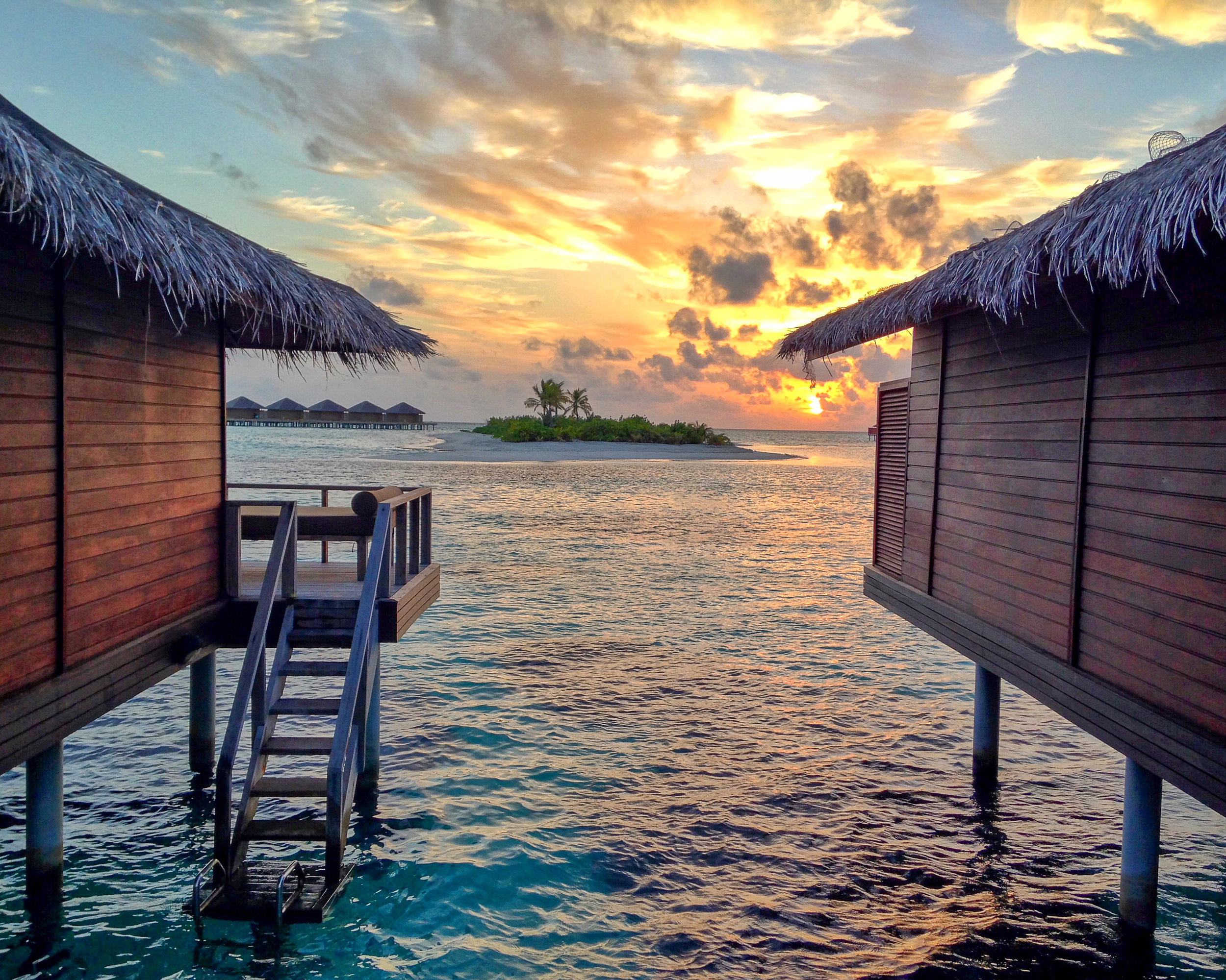 Maldives Sunset Between Bungalows