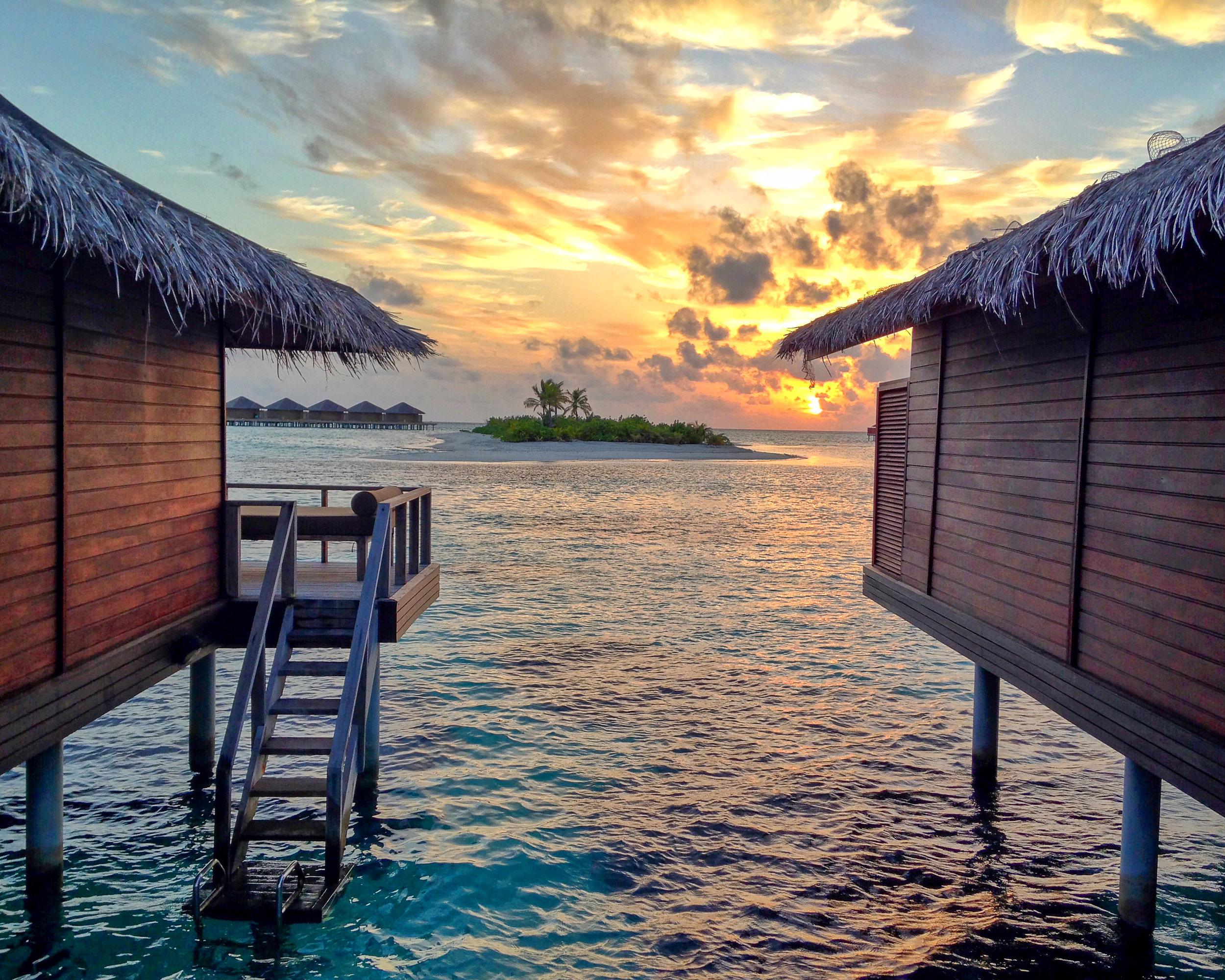 Maldives Sunset Between Bungalows
