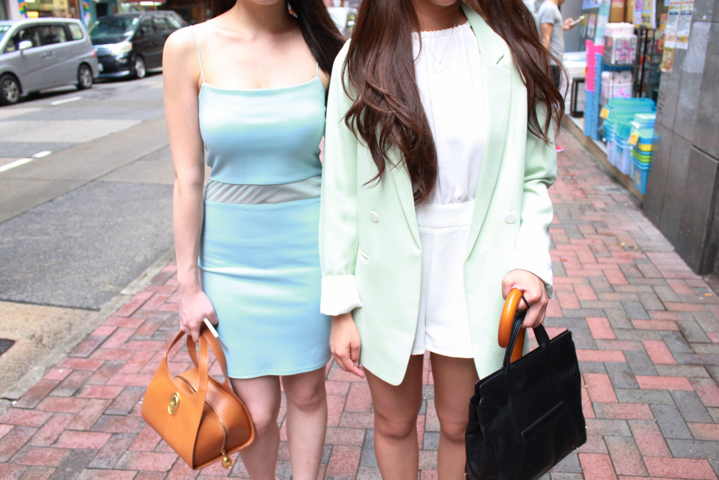 On JS (left): Missguided baby blue dress / Christian Dior handbag / Office grey mules On me (right): Mint green long blazer / White halter neck playsuit / Alexander Wang handbag / White loafers