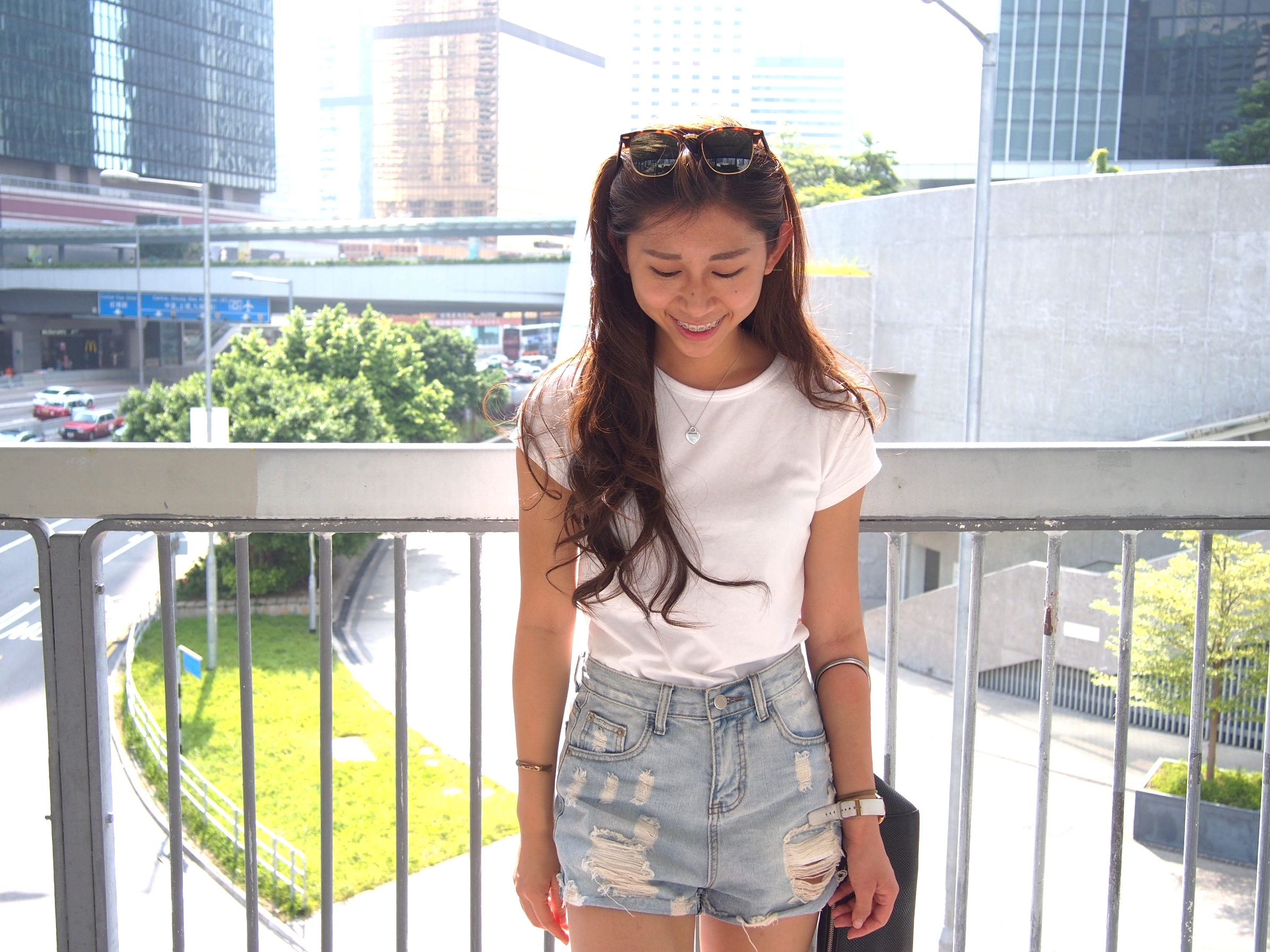 H&M white tee / Ripped denim shorts / Vans white leather loafers / Alexander Wang clutch