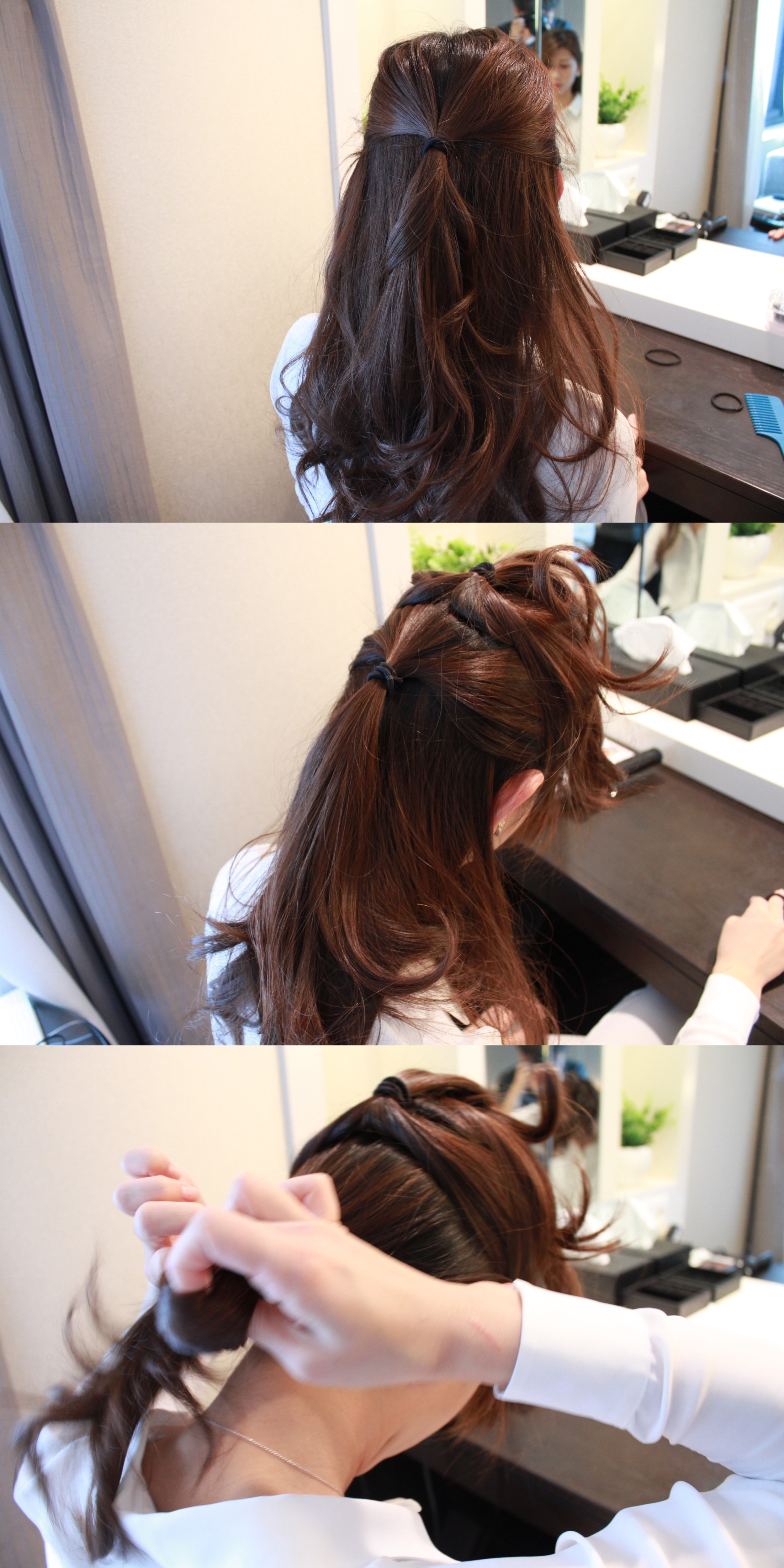 Tie 3 ponytails vertically lined.