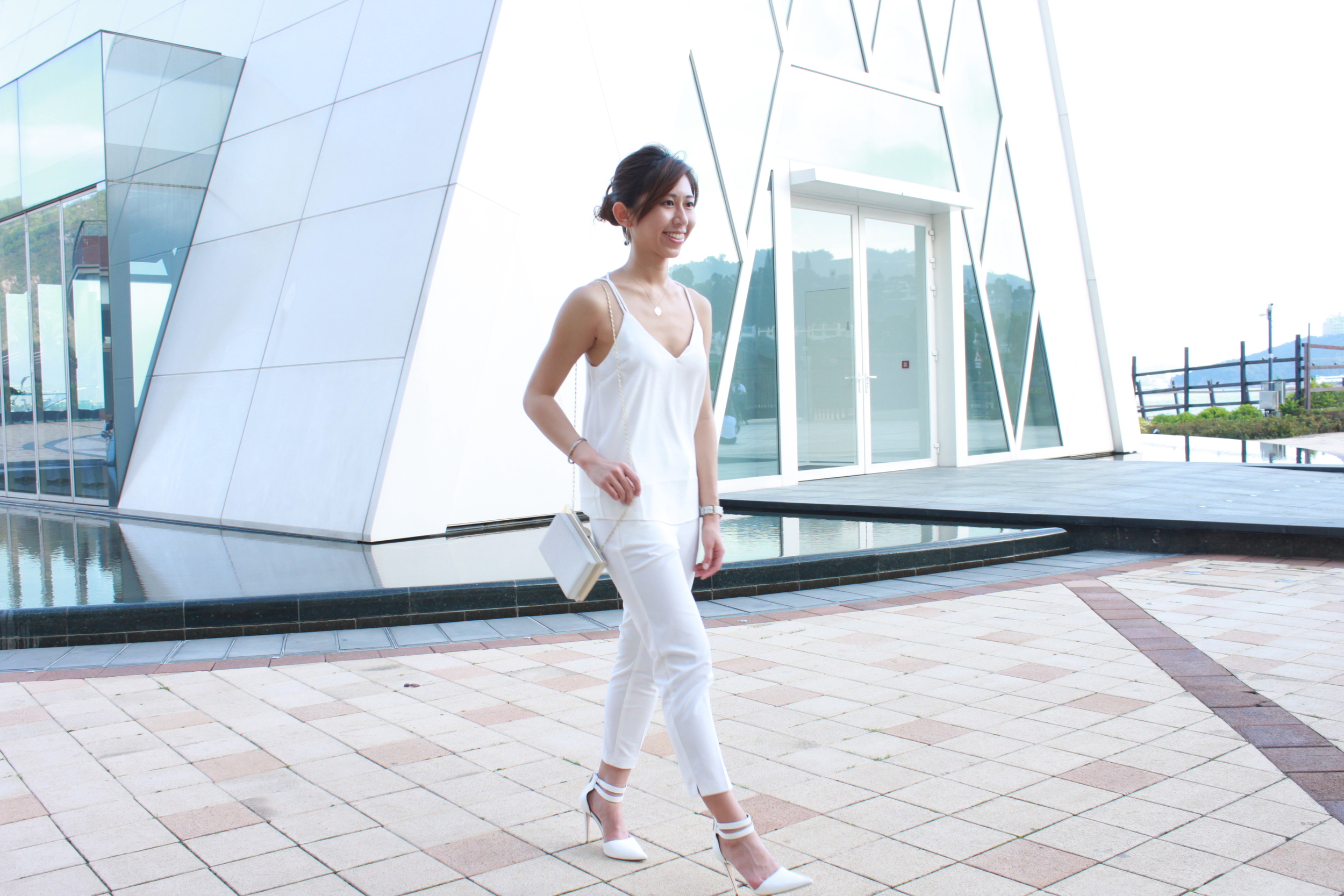 TomFord Lip Colour Sheer (Rose Soleil)   Asos white strappy cami top / Korea white tailored pants /  RAYE white candace heel / White box clutch / Country Road marble earrings