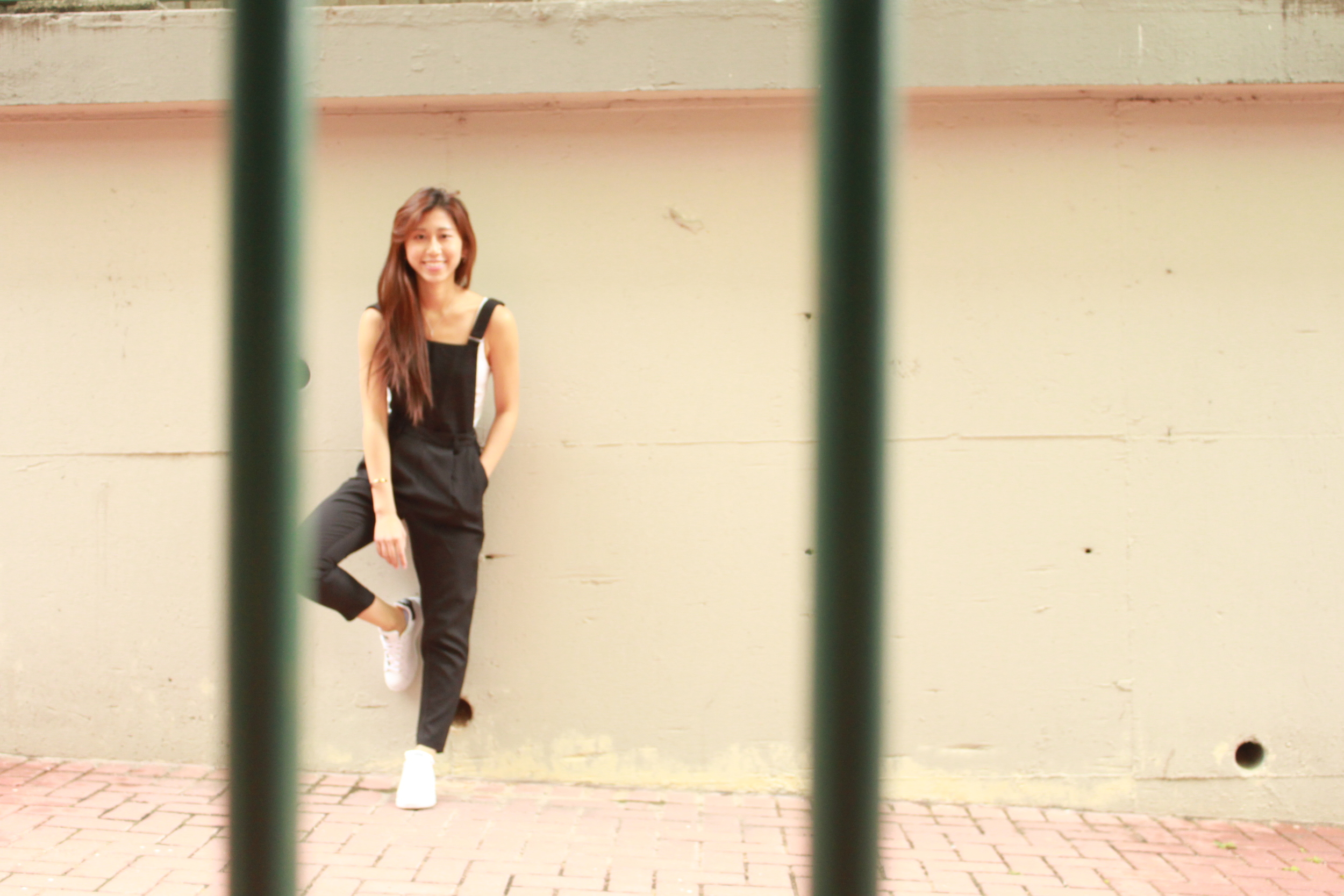 H&M basics tank / GU black dungarees /  Adidas Originals stan smith shoes