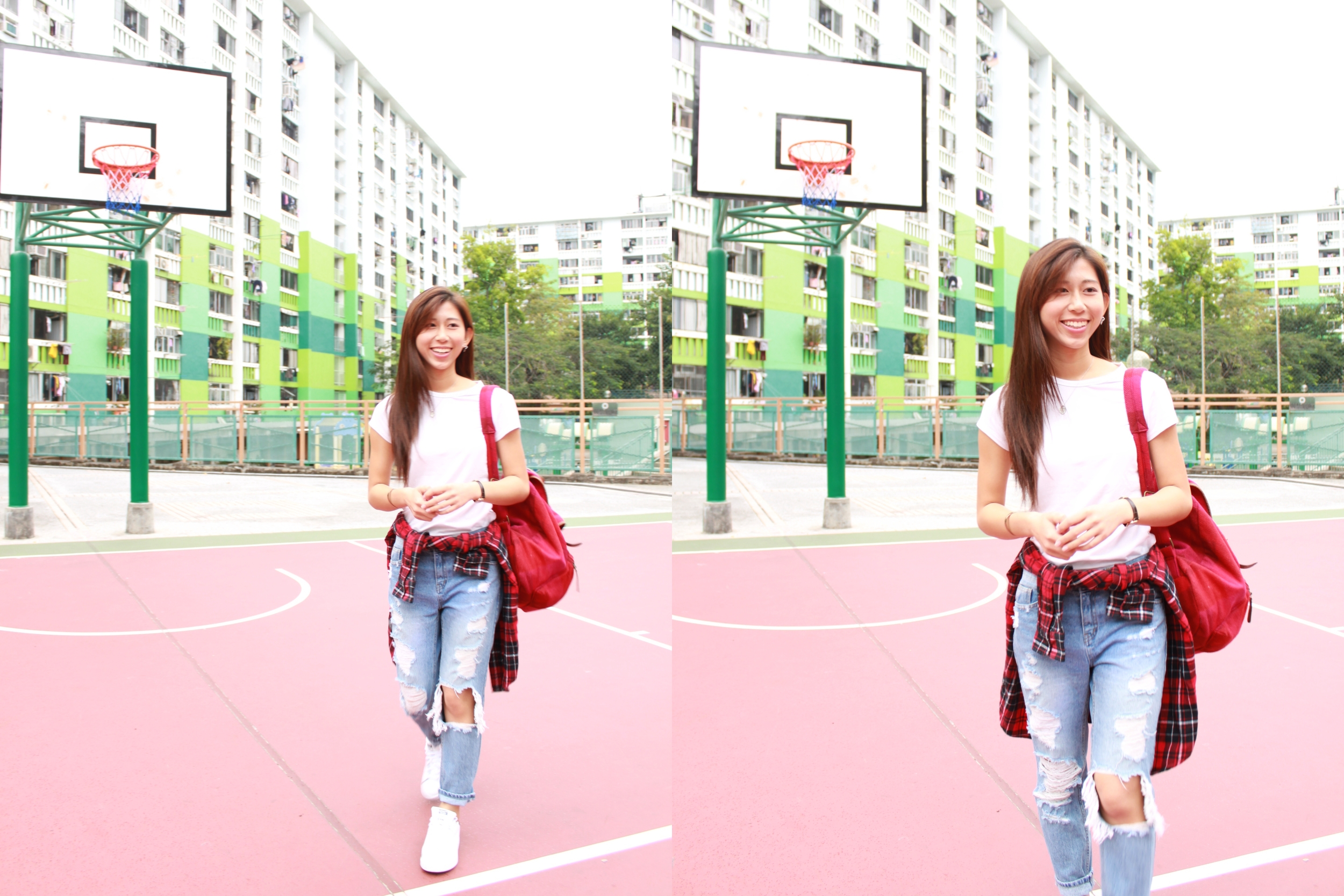 Fresh Sugar Petal  H&M white basic tee / Korea ripped boyfriend jeans / Red checkered shirt / Jack Wills red backpack /  Adidas Originals Stan Smith shoes