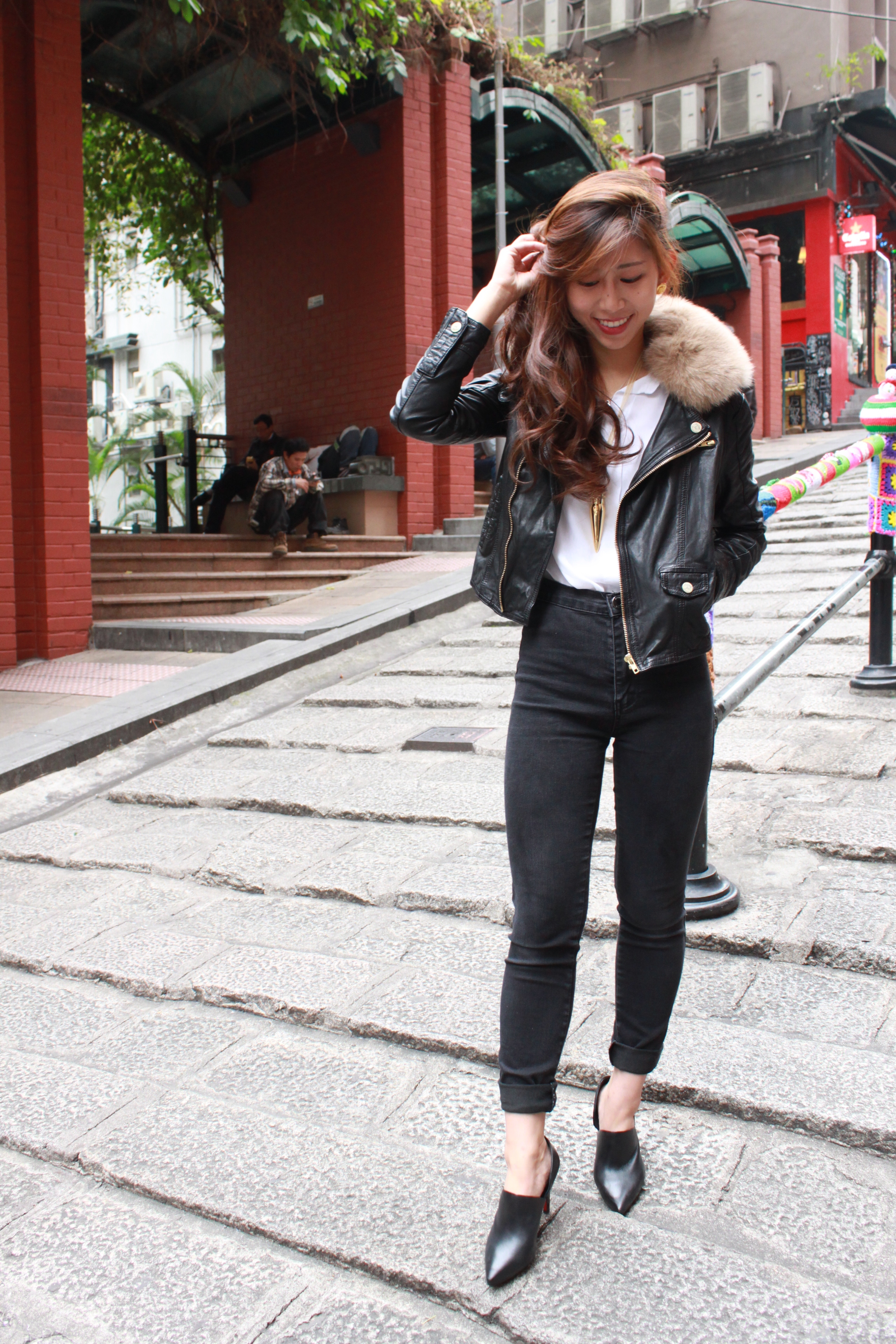 Christian Louboutin Let Me Tell You Silky Satin   H&M white sheer shirt  / Boohoo super-high waisted black skinny jeans / Staccato cut-out heels / Salad leather biker jacket ( alternative )/ Alexander Wang leather clutch