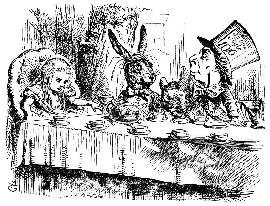 Alice with Mad Hatter at the Tea Party (Image via online)