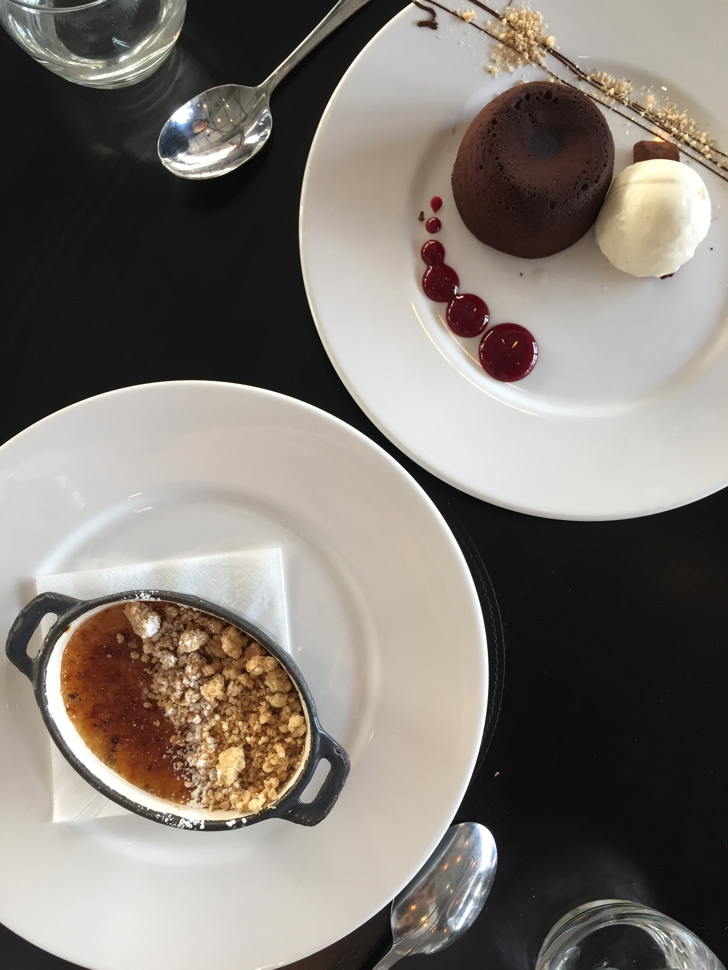 (Top) Chocolate Fondant (Bottom) Creme Brûlée with sweetened apples beneath