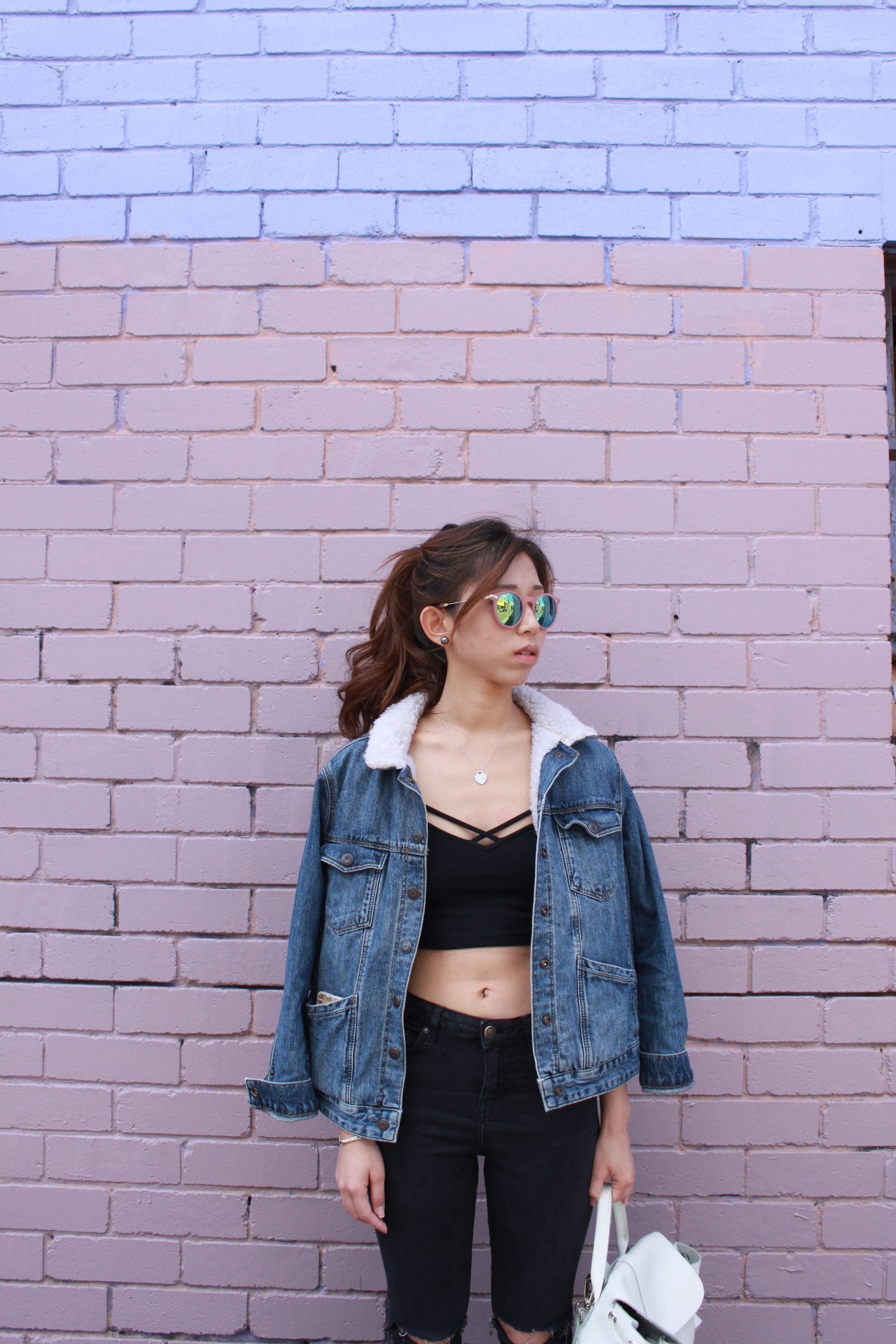 Brandy Melville crop top /  Topshop MOTO black ripped JONI jeans  / Topshop Denim Jacket (from Z) / Asos pink shades /Nike Flyknit Lunar 1 (from Z)/  Grafea Bianca white leather backpack