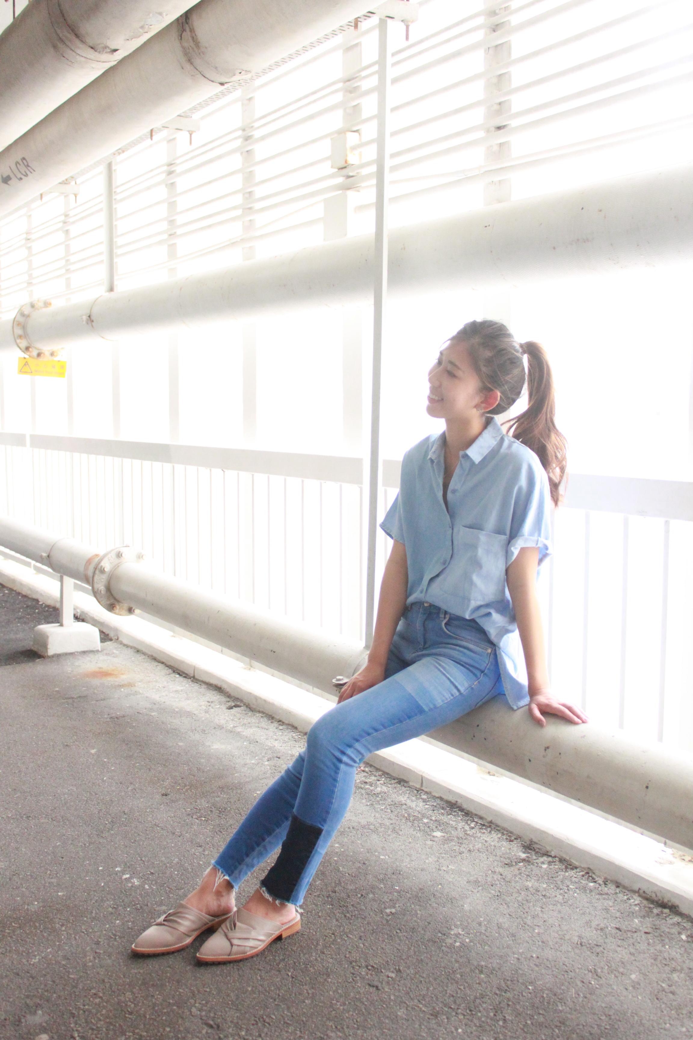 Zara denim oversized shirt / Zara denim patchwork jeans / Initial slippers