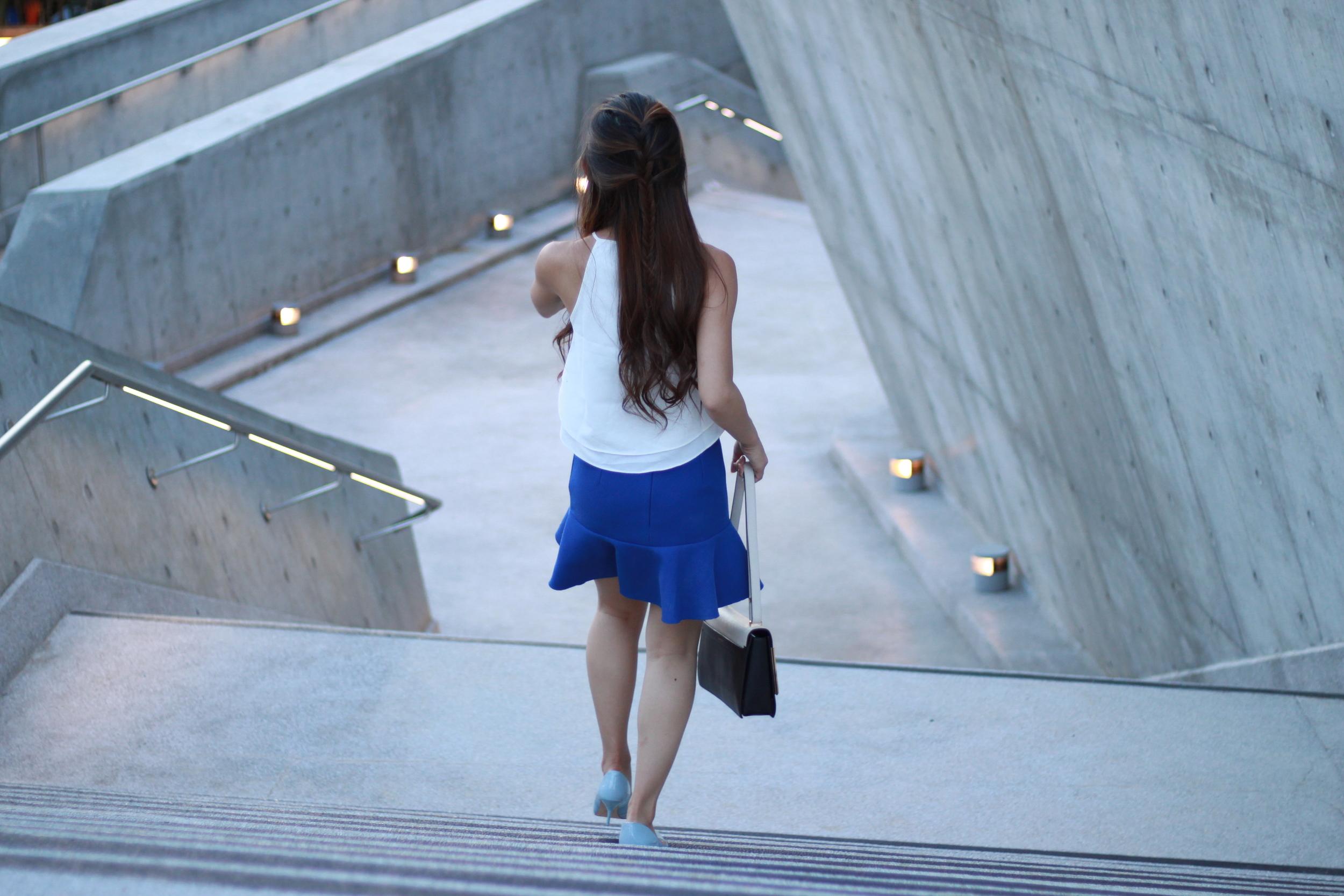 Fashmob  white halter top /  B+ab  blue skirt /  Lanvin  Partition two-tone shoulder bag /  Zara  blue heels