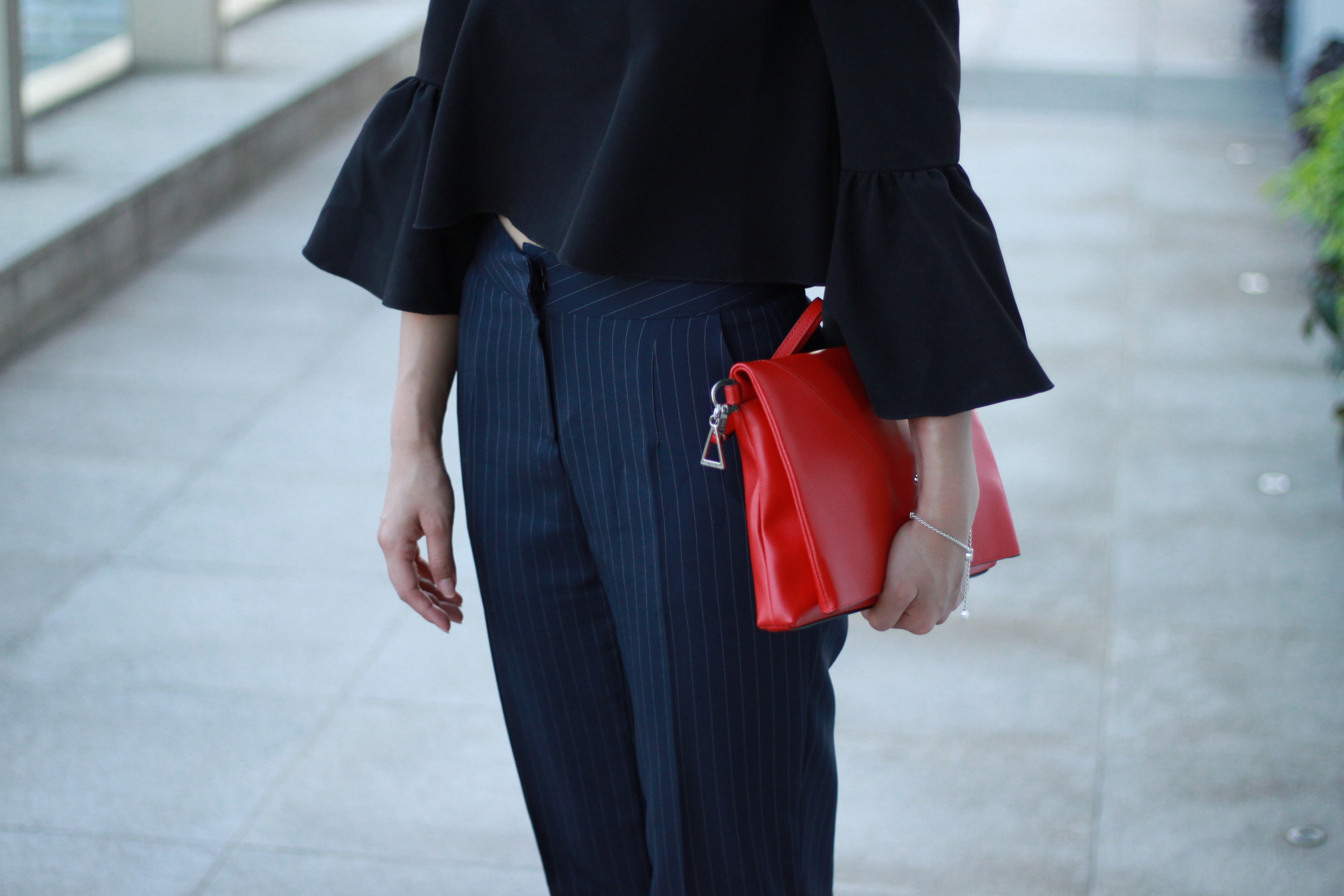 Asos black offshoulder bell-sleeves top  / Navy striped cropped pants /  Stuart Weitzman On a String maroon pump s /  Agnes. b  red fold clutch
