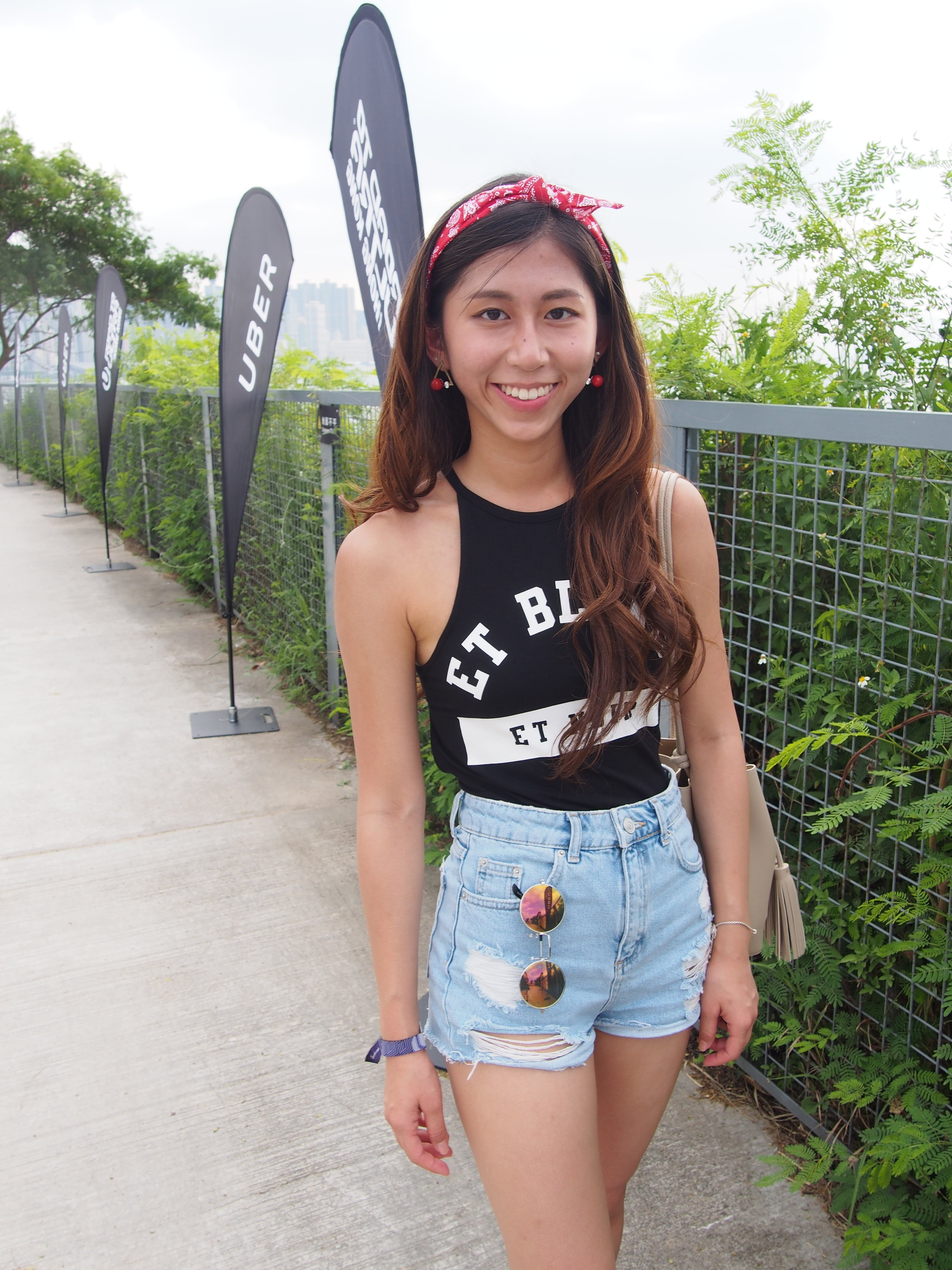 On me: Topshop cut-out bodysuit / Topshop denim shorts / Red bow / Charles&Keith beige bucket