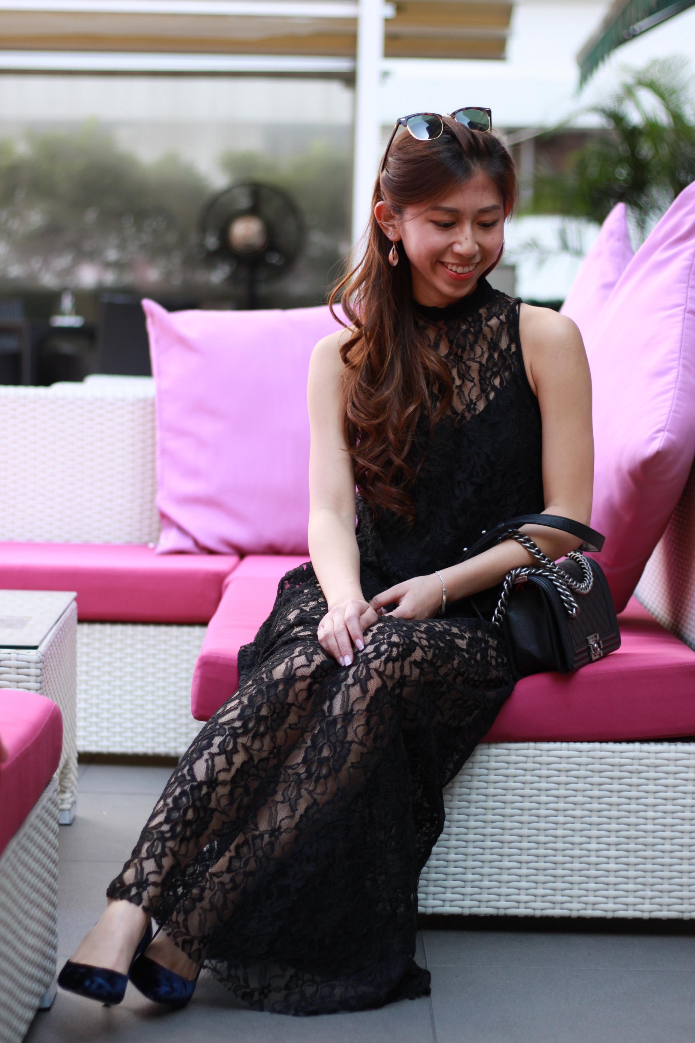 On me: Zara black lace maxi / Prada velvet pumps / Chanel Boy On JongSin: Zara green lace top / Denim jeans / Stuart Weitzman over-the-knee boots / Givenchy On JoyceSi: