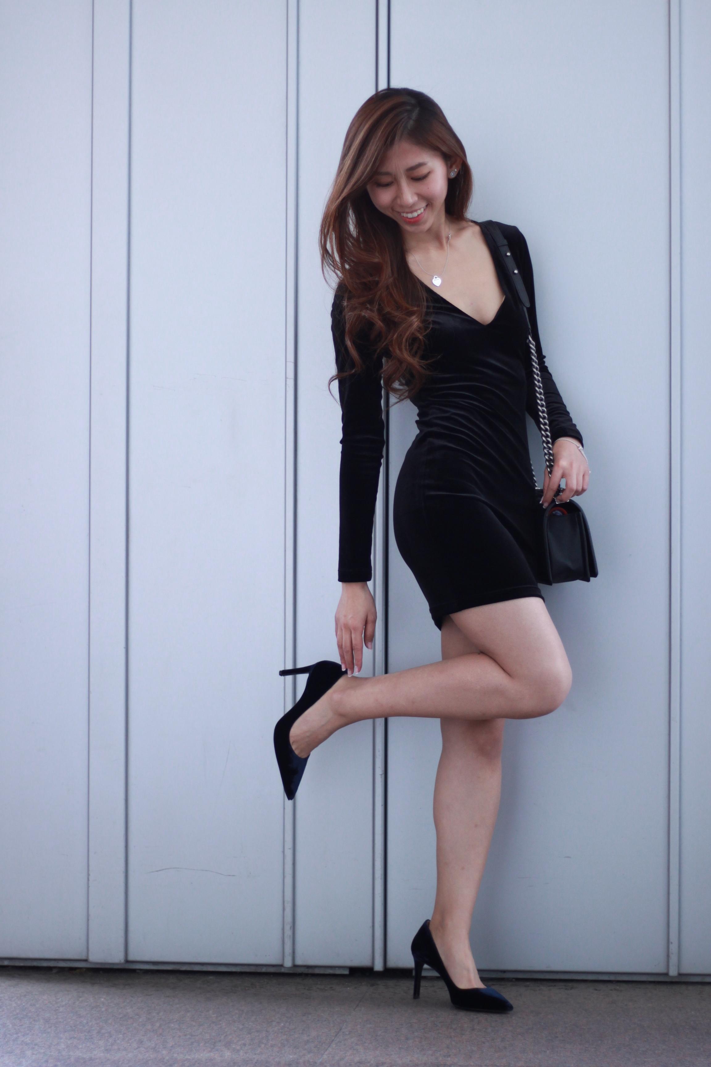 On me: Topshop velvet black dress / Prada velvet pumps / Chanel Boy
