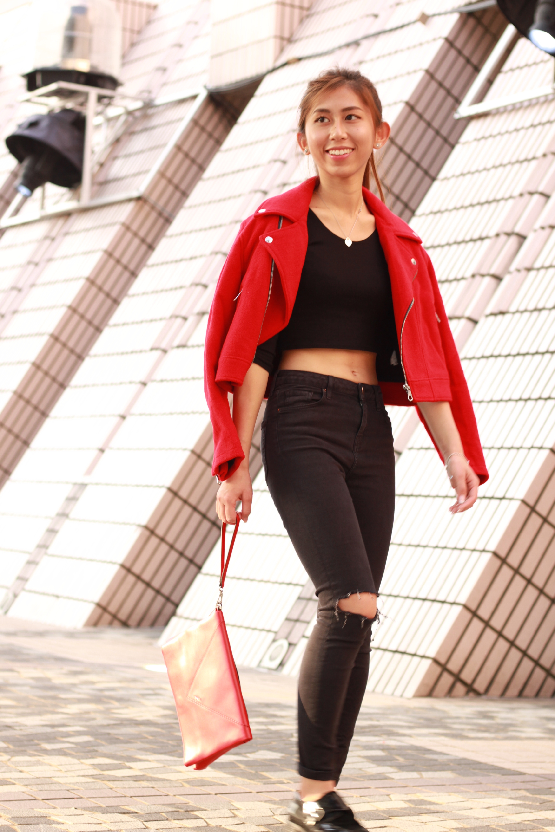 b+ab red biker jacket / Topshop ripped jeans / Topshop cropped top / Vanishing Elephant black loafers / Agnes b. red clutch