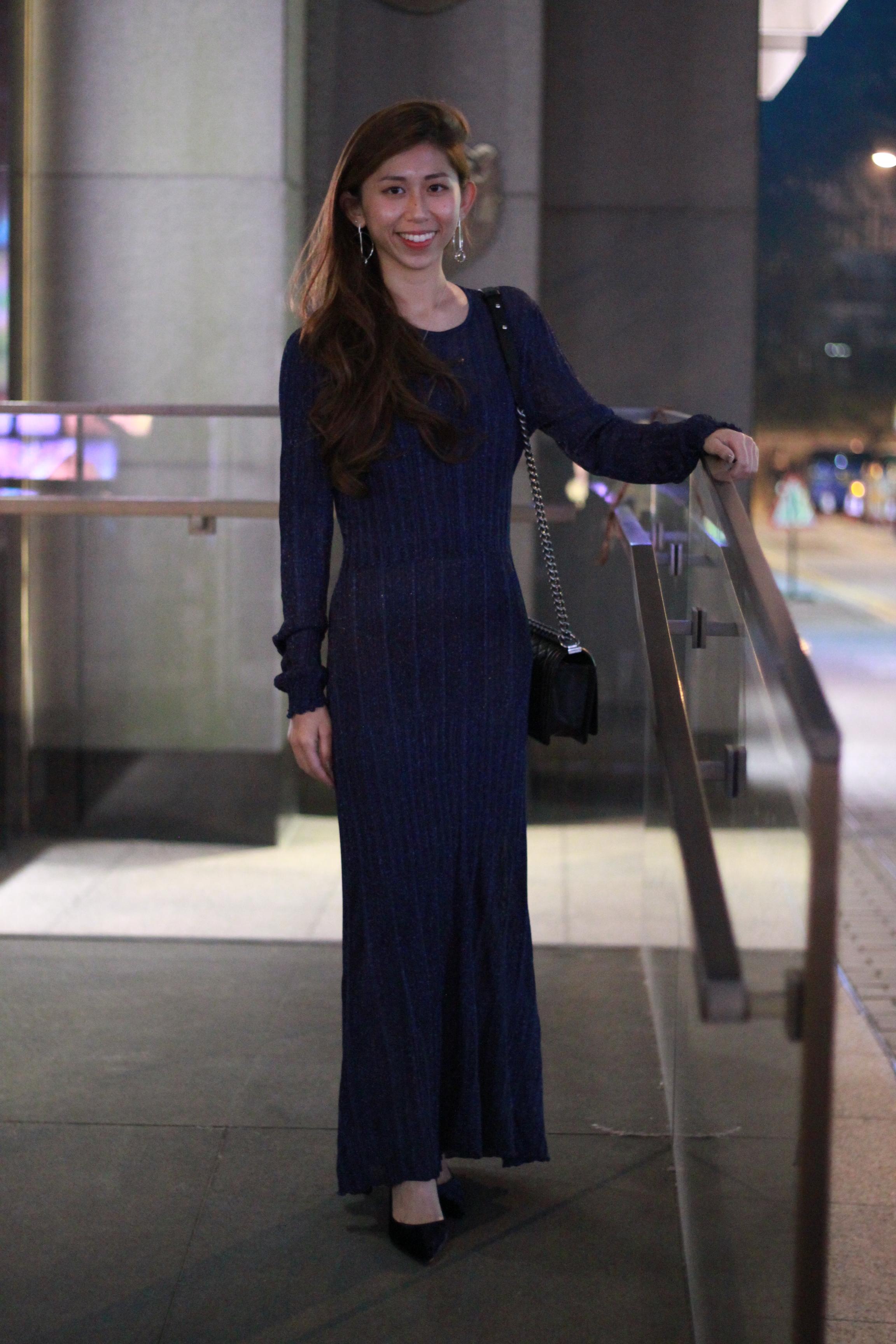 Zara maxi dress / Prada velvet pumps / Chanel boy bag / Emoda earrings