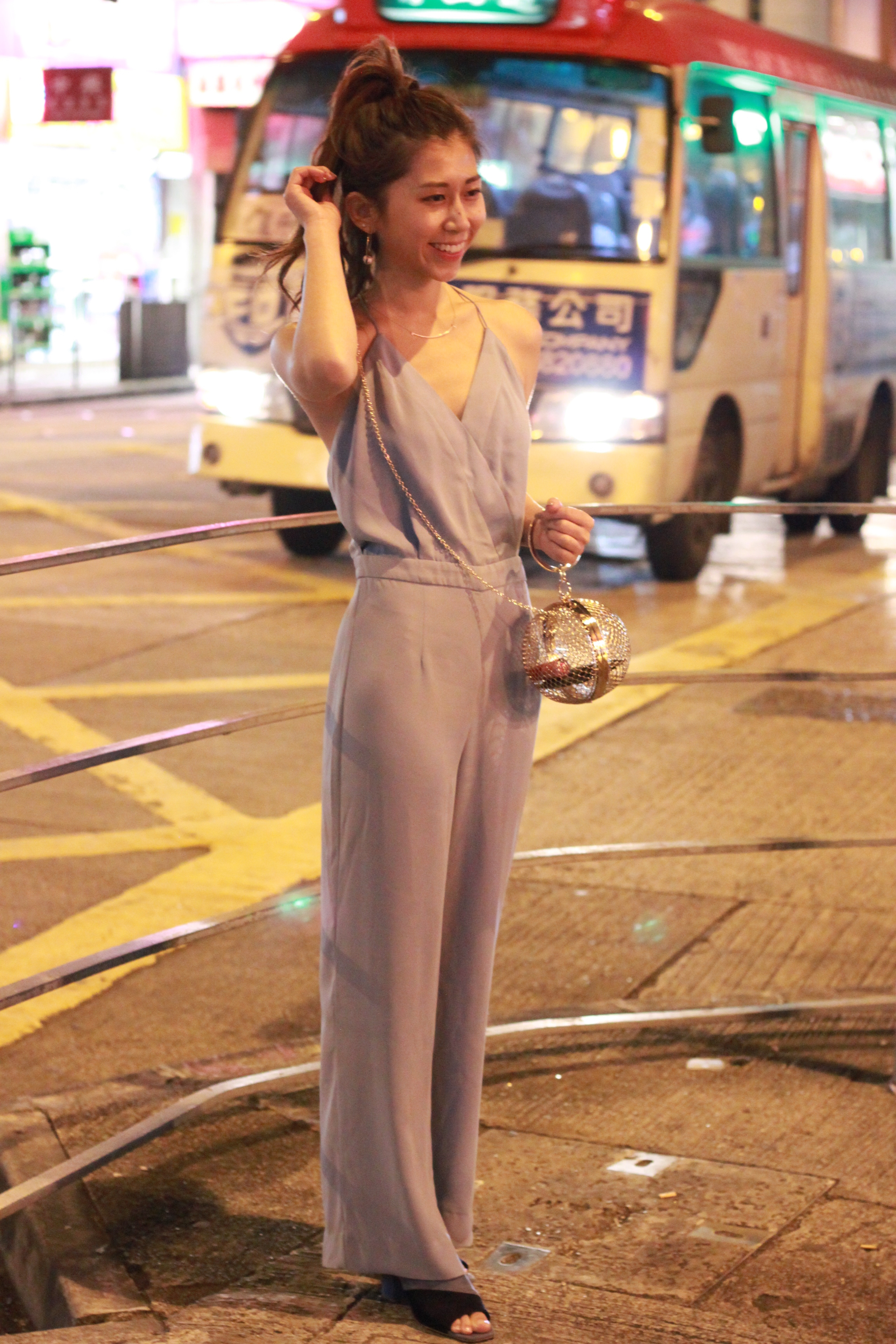 Zara jumpsuit  / Zara mules /  Asos cage bag