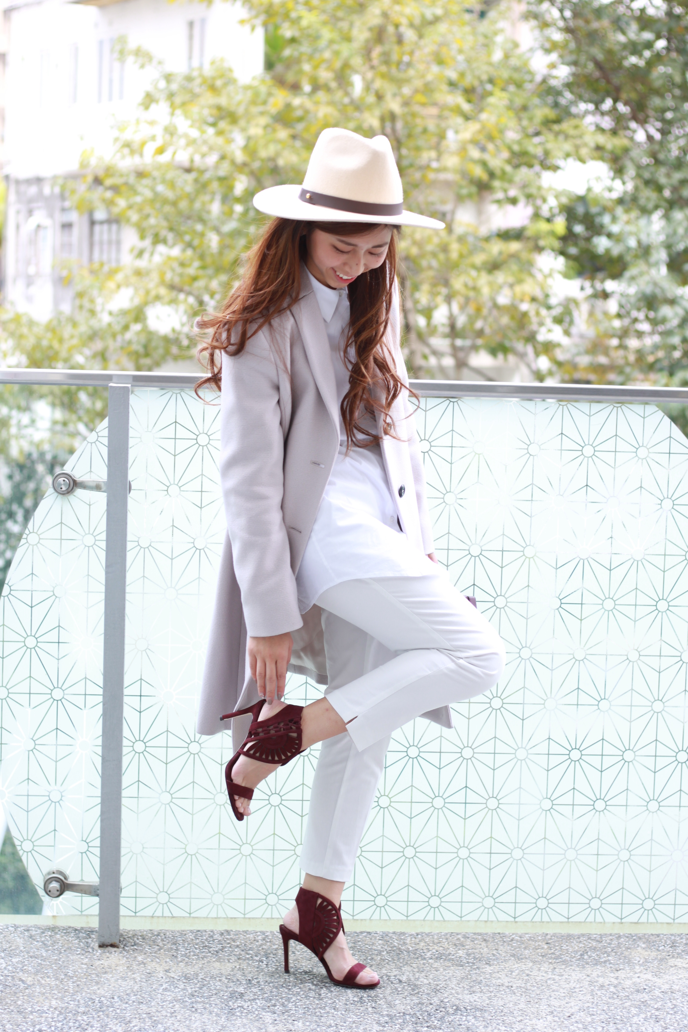 Theory white shirt / White cropped pants from Korea / Pennyblack nude coat / Tory Burch Leyla sandal /  Lack of Color The Oracle / Charles & Keith box clutch