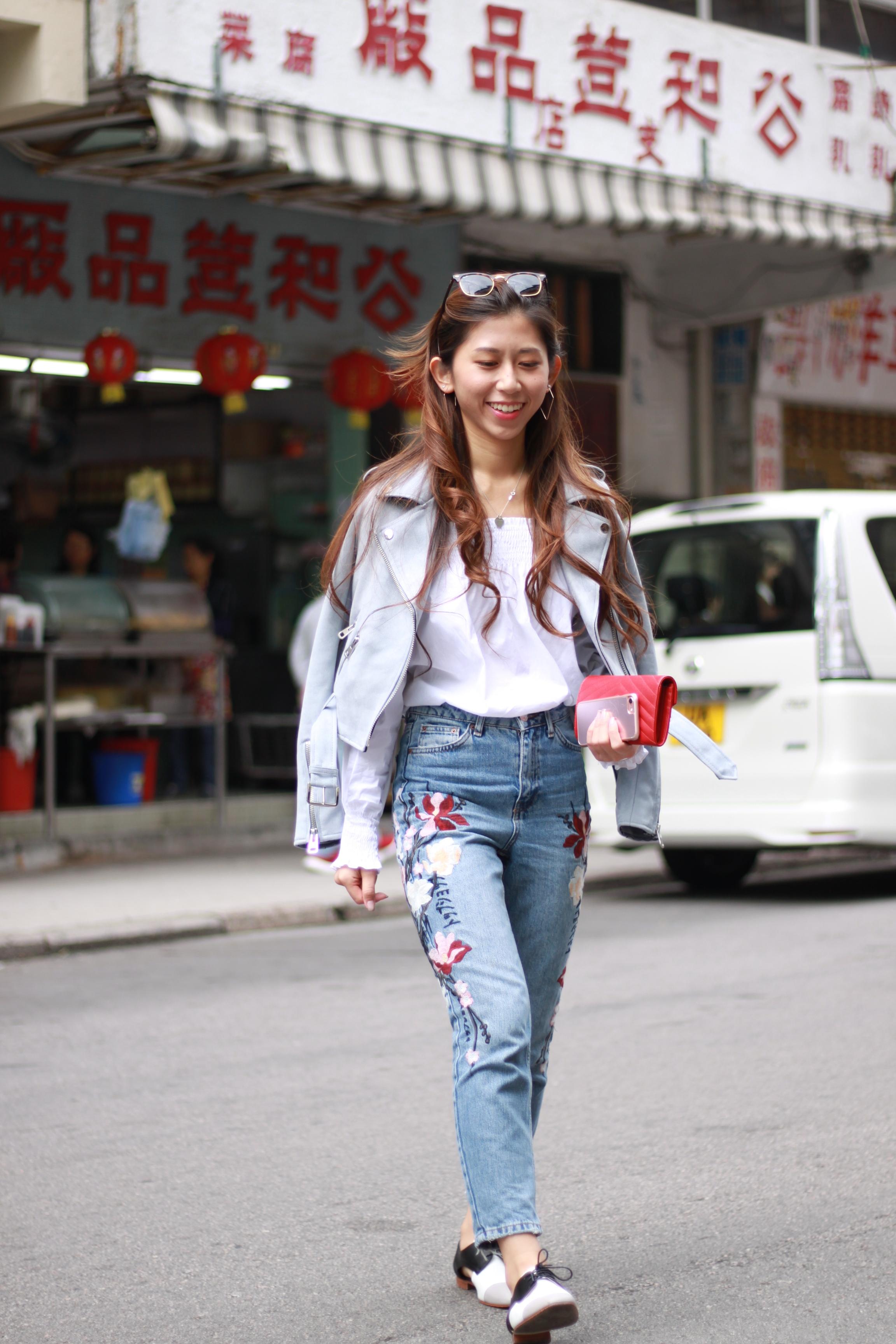 Zara off shoulder top /  Topshop MOTO floral embroidered mom jeans /  Zara suede biker jacket / Giordano Ladies cut-out oxford shoes /  YSL monogram flap wallet / DearPostman triangle hoop earrings