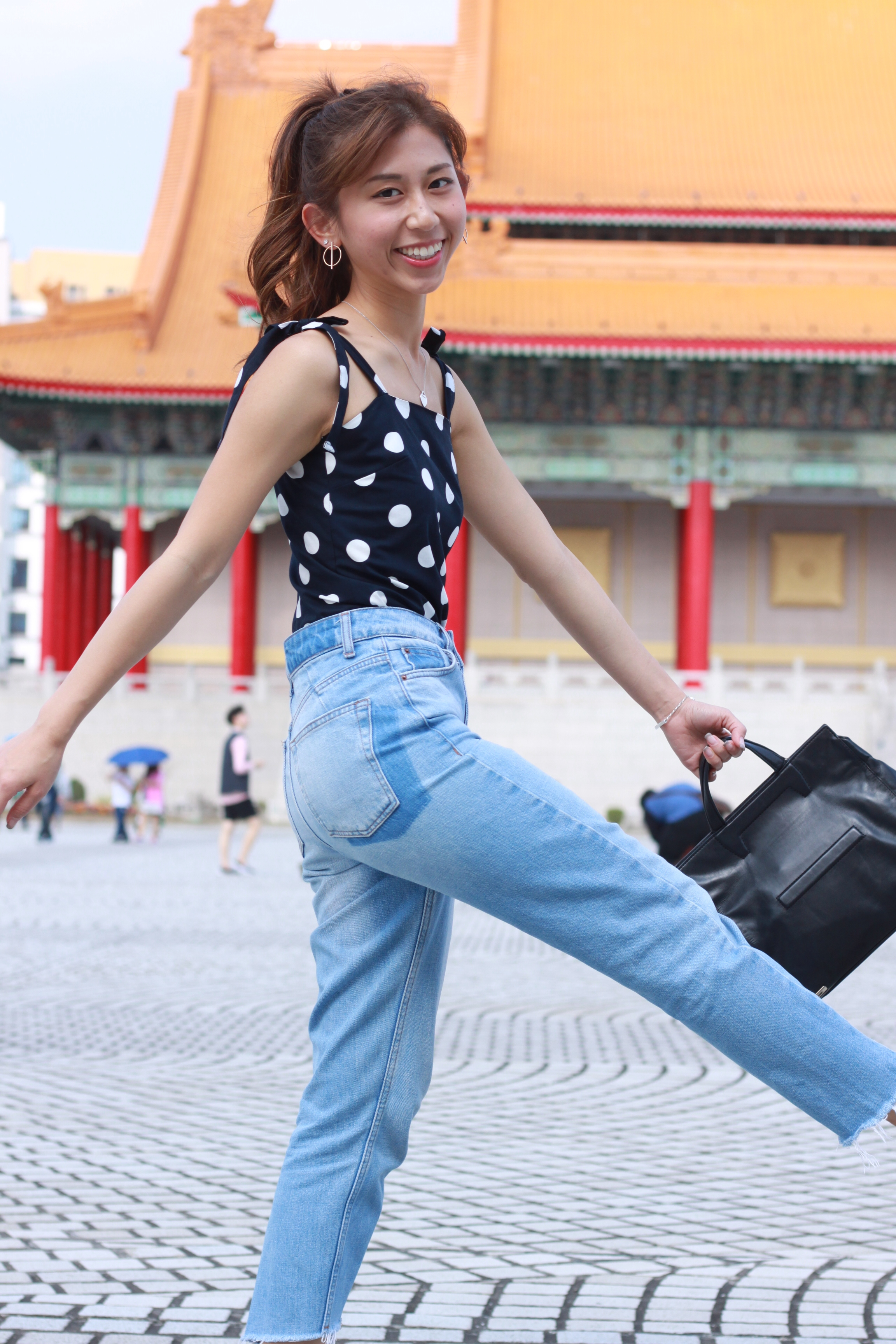 Zara Polka Dot Bodysuit  /  Topshop Seam Detail MOM jeans  /  Zara Fabric Slingback shoes
