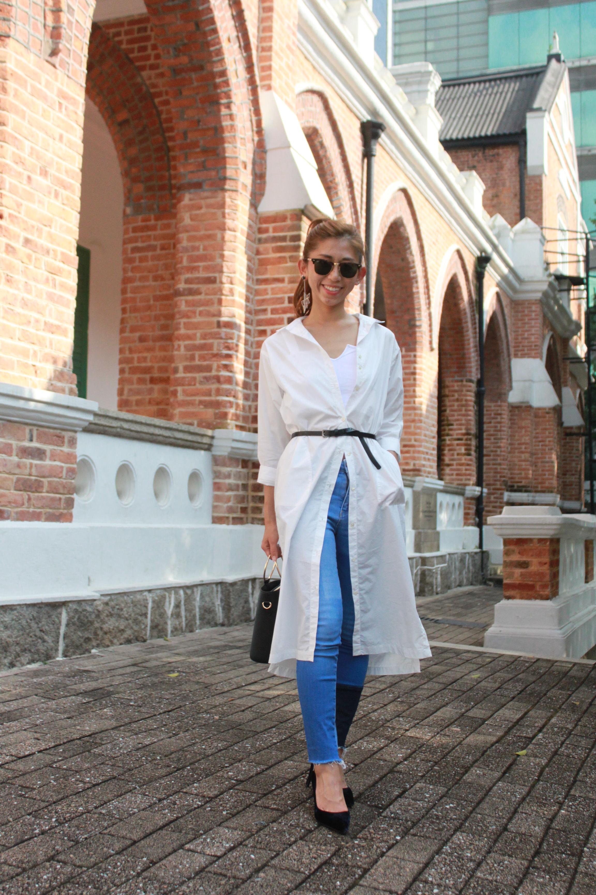 Long shirt from Japan / Brandy Melville white top / Zara patchwork jeans / Prada Velvet pumps / Ring bag from Japan / Mosdress star earrings