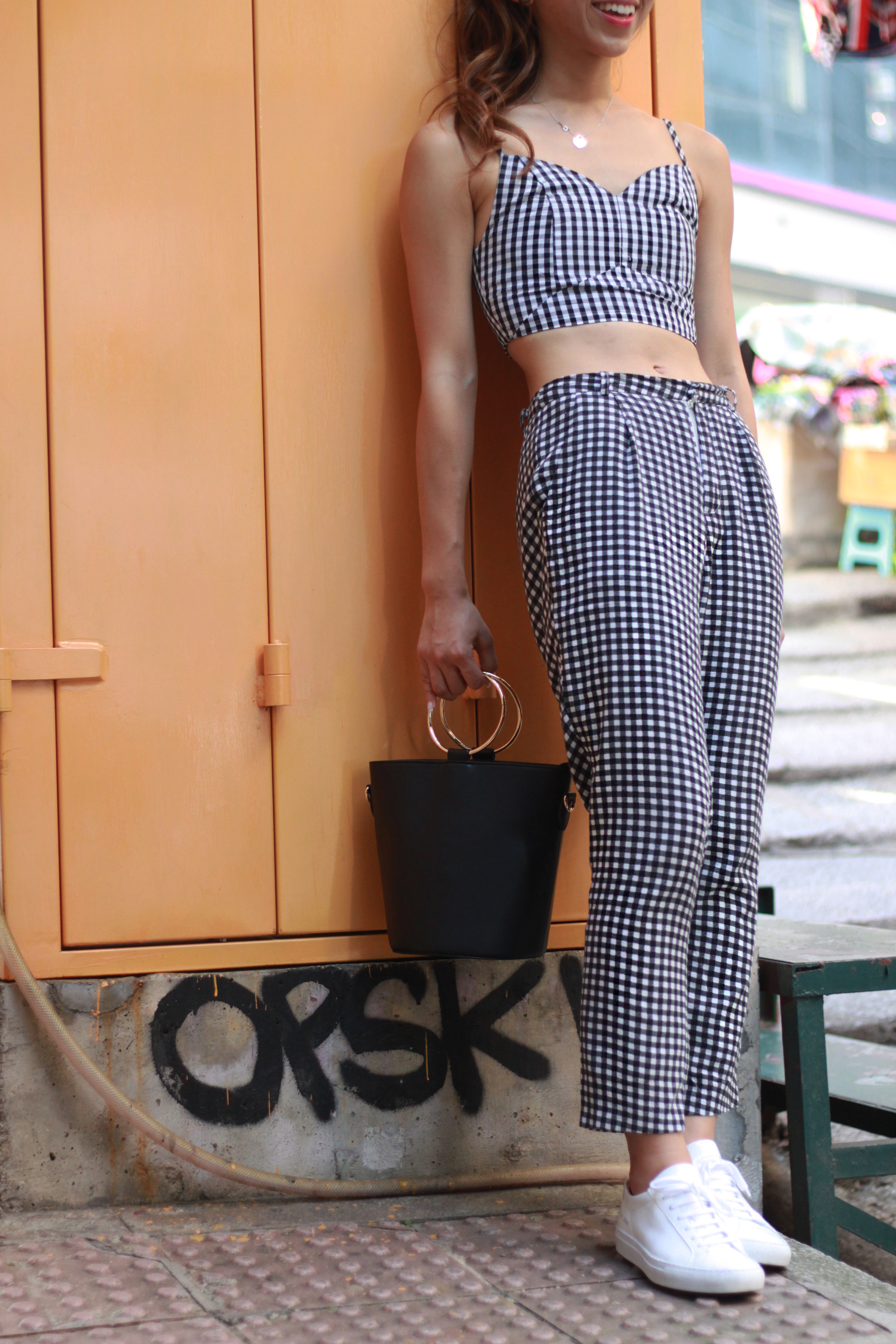 Fashmob gingham bralette / Fashmob gingham pants / H&M sheer shirt /  Common Projects classic lace-up sneakers (glossy)  / Black ring bag from Japan
