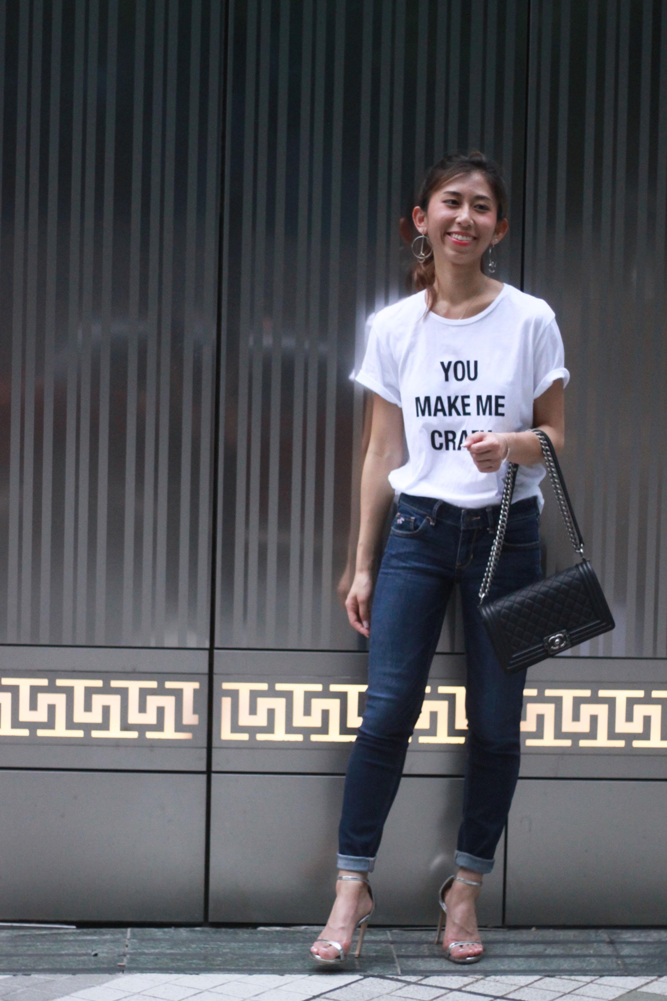 Zara t-shirt / Hollister jeans / Stuart Weitzman nudist song tin glass microfibre sandals  / Chanel boy