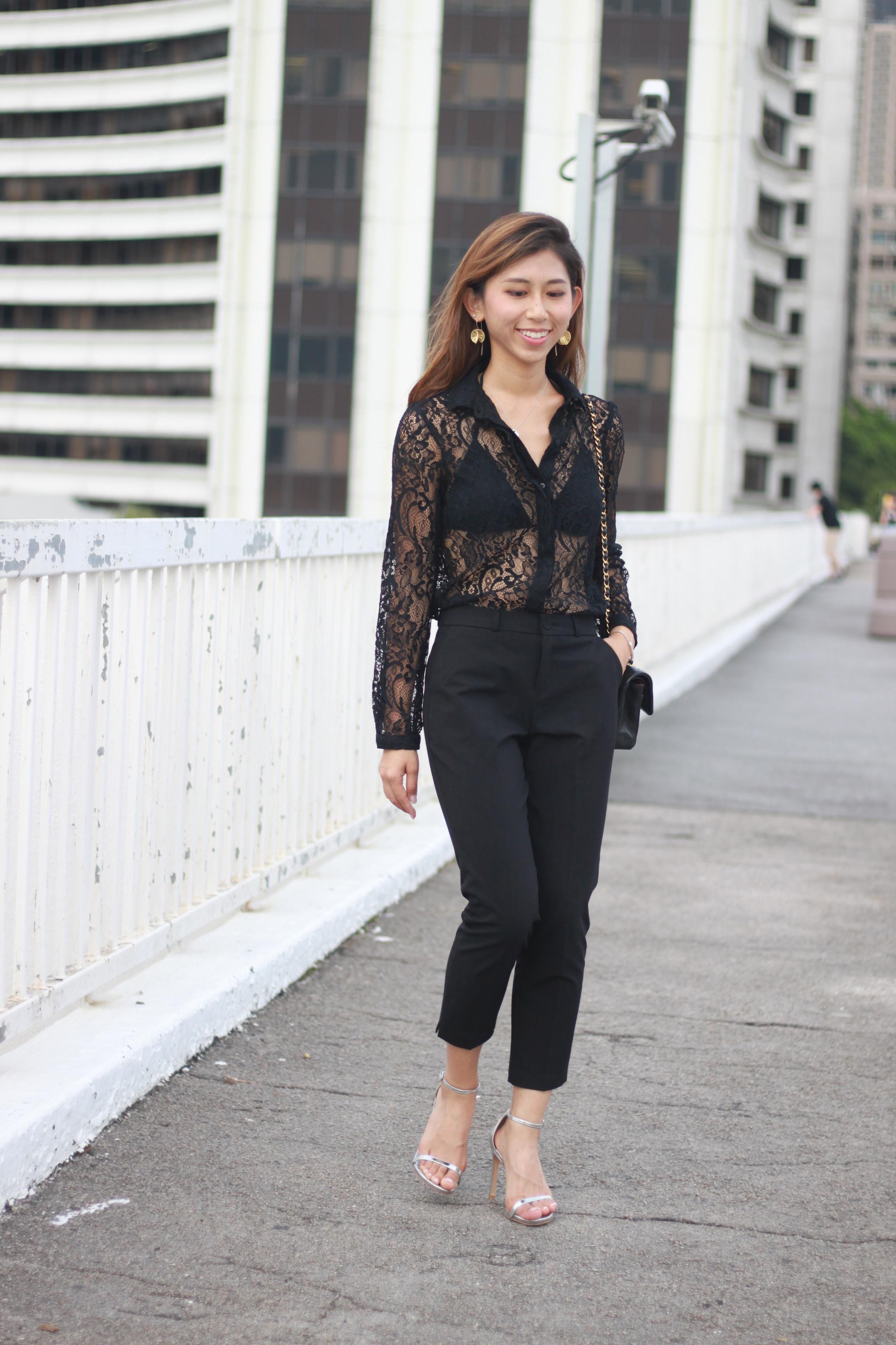 Black zara shirt ($250) / Black cropped pants ($250) / Chanel classic / Stuart Weitzman nudist song tin glass microfibre sandals ($4400)