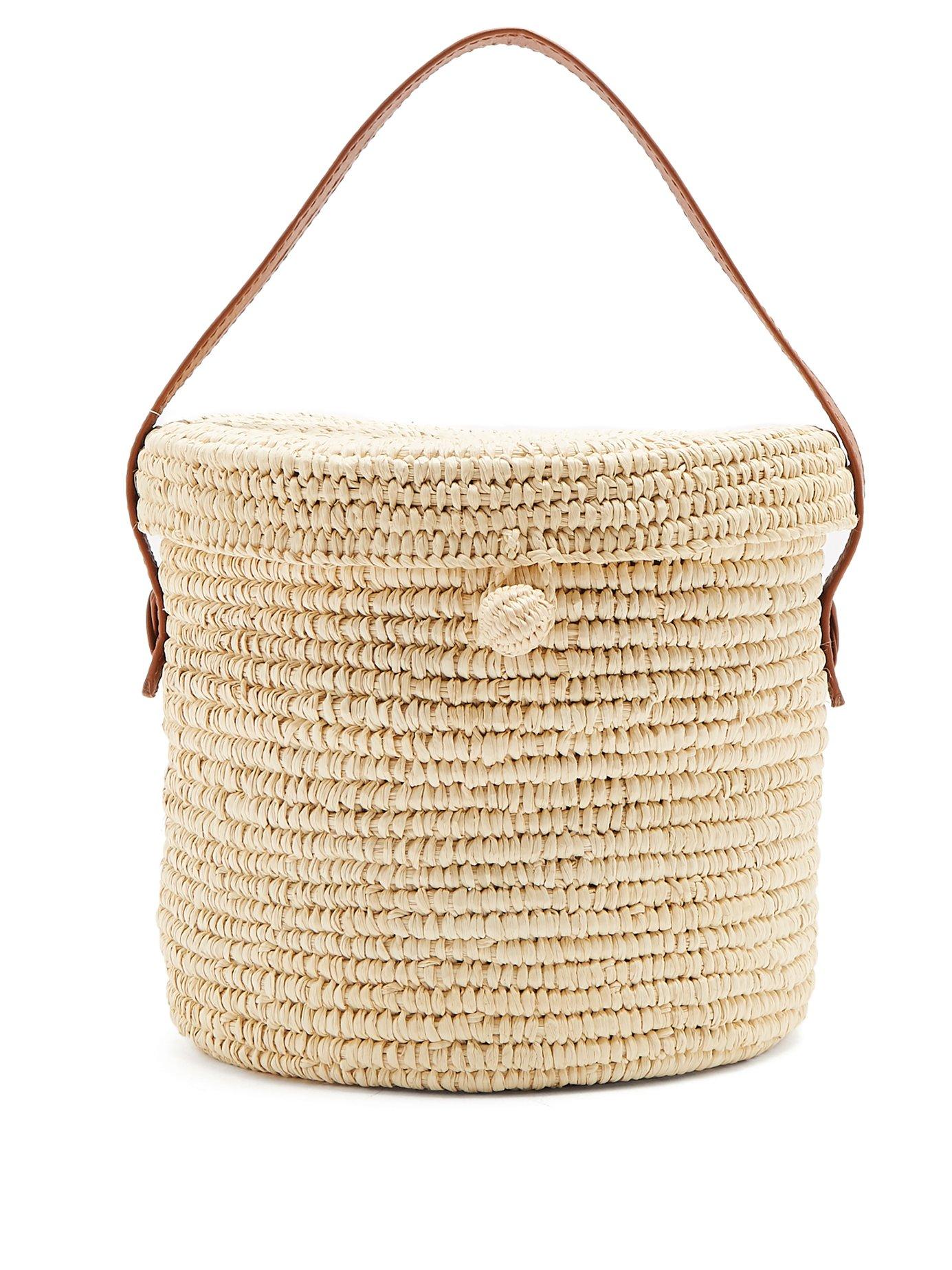 Sensi Studio Leather-trimmed toquilla-straw basket bag
