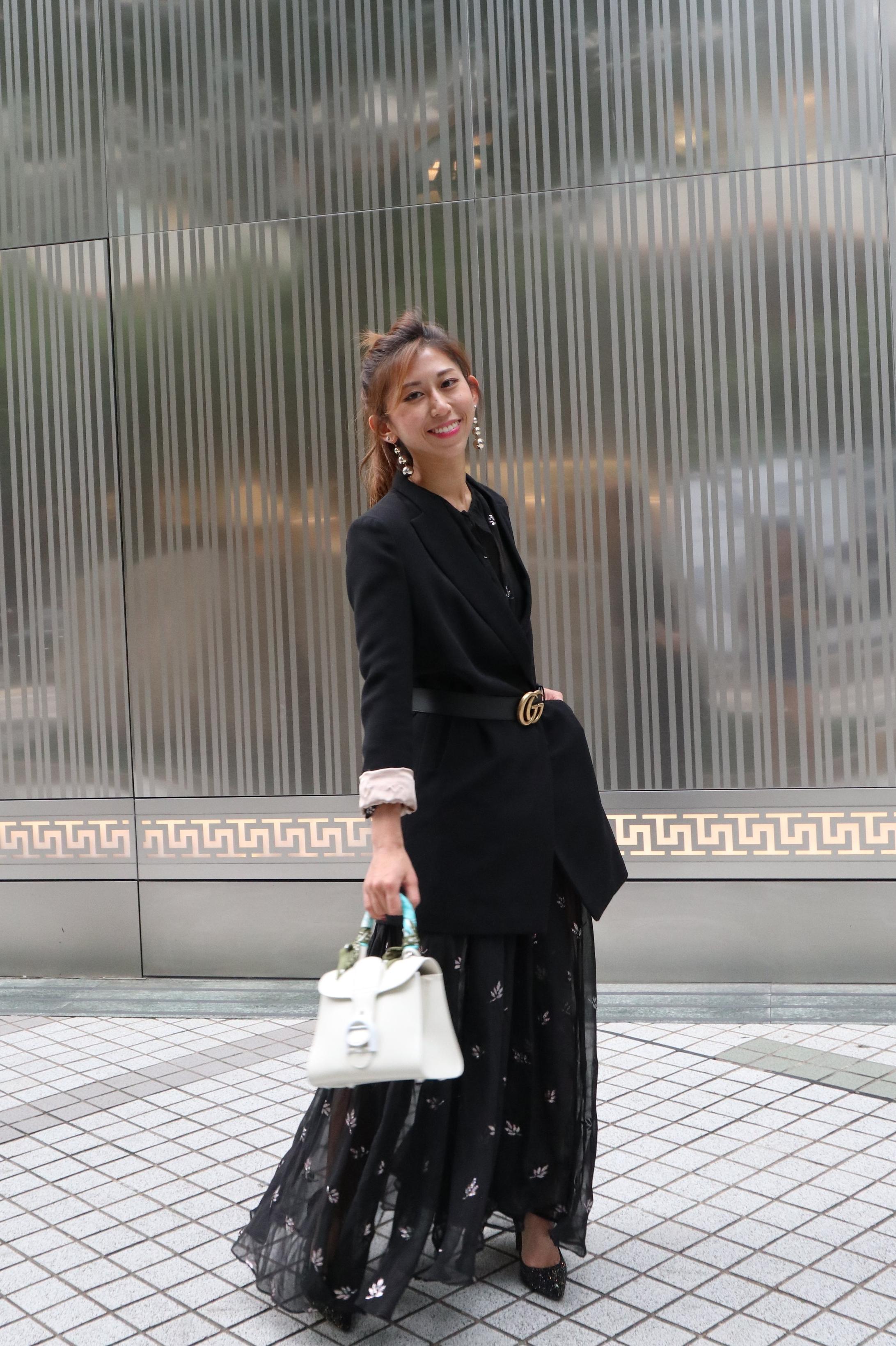 NastyGal maxi dress / Blazer from Korea /  Delvaux ivory brillant mini  /  Gucci leather belt with double G buckle  /  Jimmy Choo Romy 100 (rainbow and black multi coarse glitter fabric)
