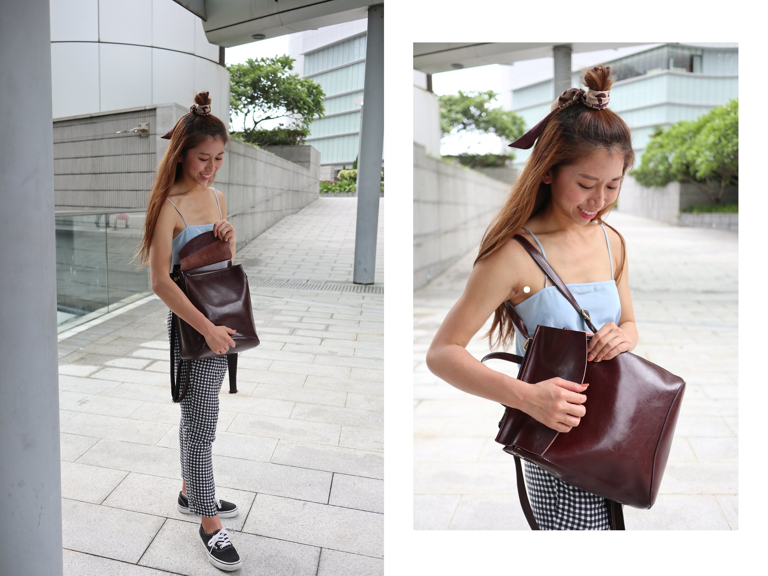 """Racil Pumkin square-neck silk-crepe cami top  / Fashmob checkered pants /  VANS authentic shoes  /  Dior """"TOILE OBLIQUE"""" burgundy mitzah scarf  / Leather backpack"""