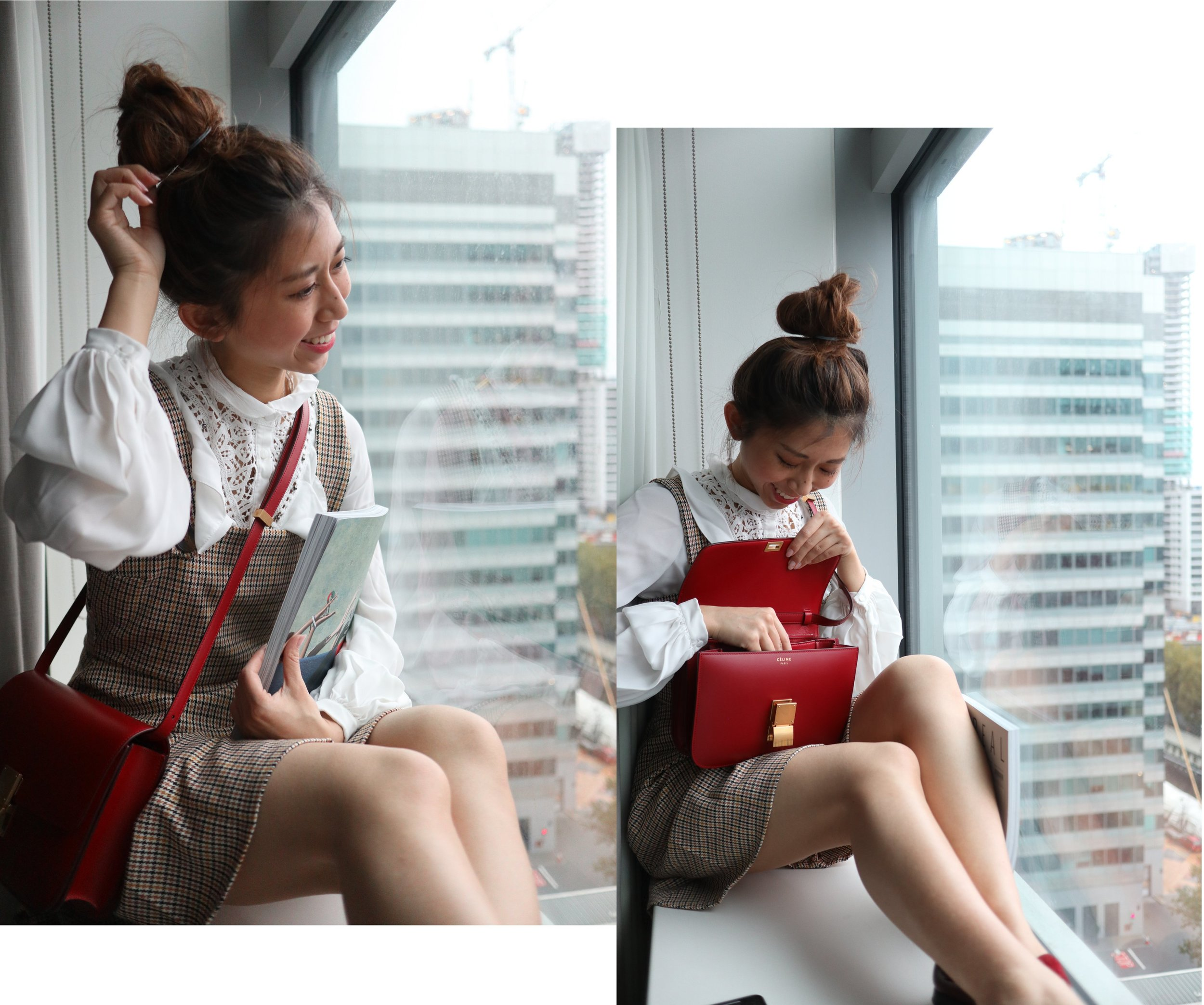 b+ab blouse /  ZARA checked pinafore dress  / Pennyblack red loafers /  Celine medium classic bag in box (red)