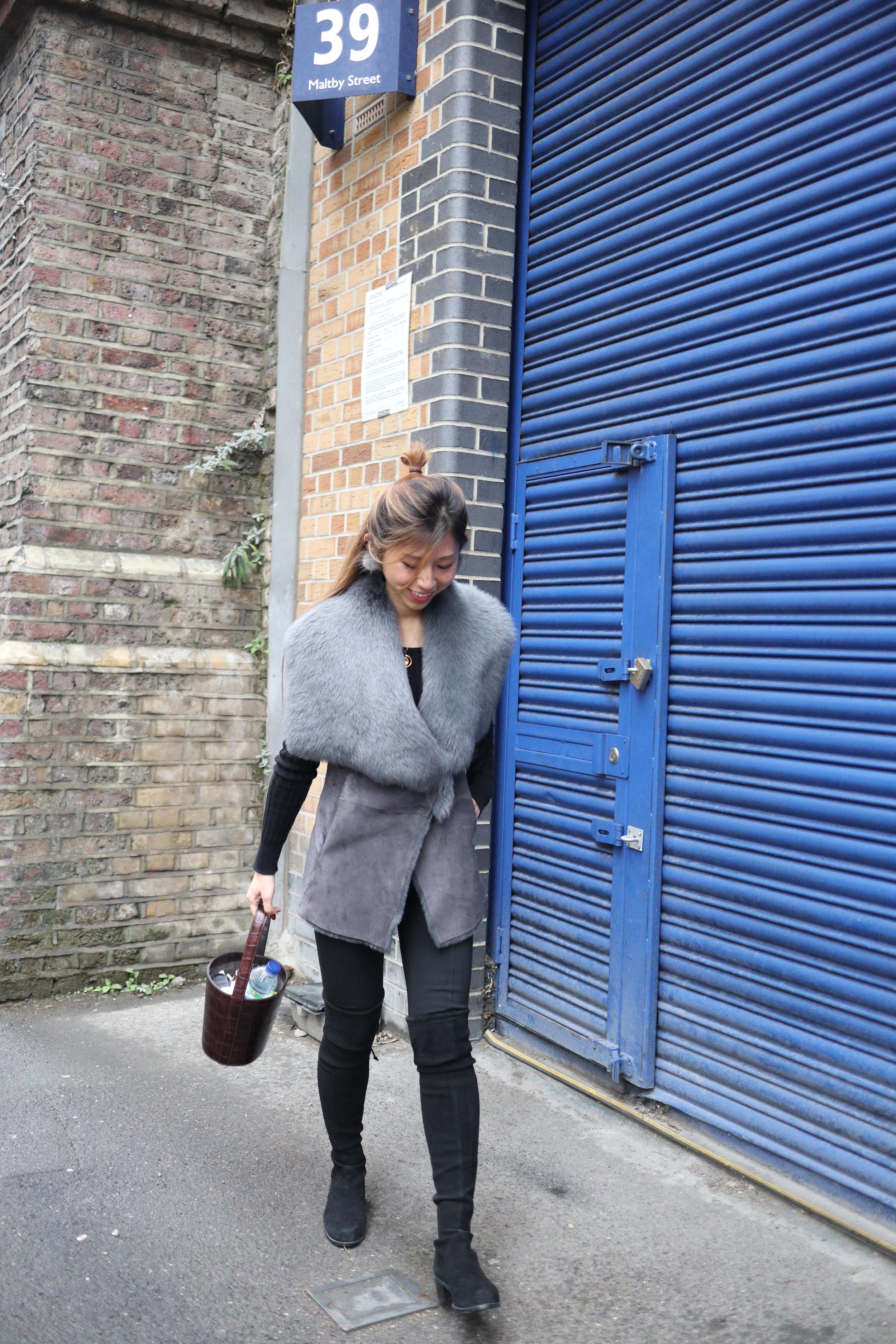 Karen Millen Luxury Lamb Leather Gilet (Grey)  / Giordano Ladies black knit / Espirit black leggings /  Stuart Weitzman the Lowland Boot (black suede)  /  STAUD bissett bag brown faux croc  / Fur earrings from Taobao