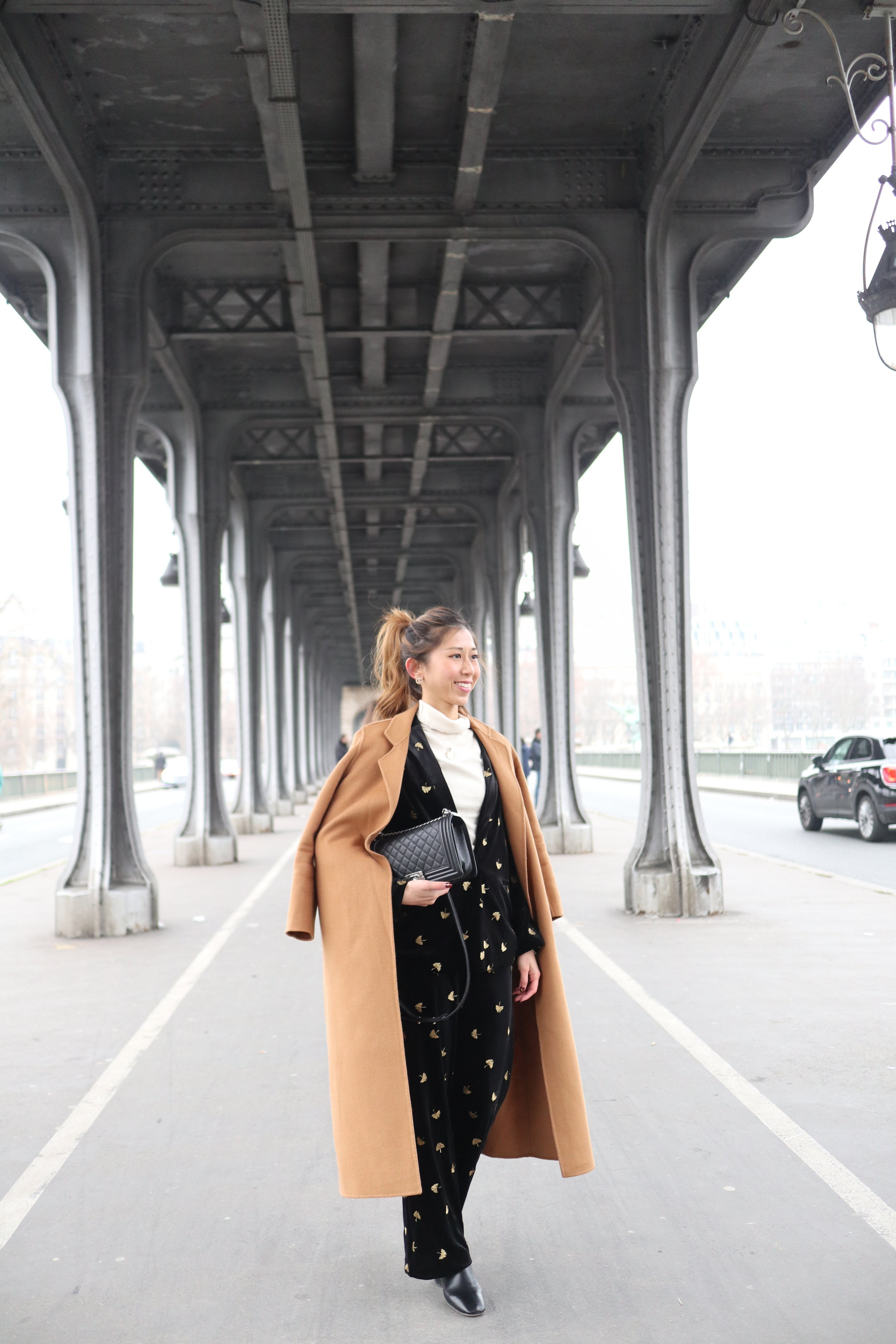 & OTHER STORIES embroidered velvet blazer  /  & OTHER STORIES embroidered velvet trousers  / GIORDANO LADIES beige turtleneck /  GIORDANO LADIES camel coat  /  Studiodoe black leather boots  /  CHANEL BOY Grained Calfskin & Ruthenium-Finish Metal