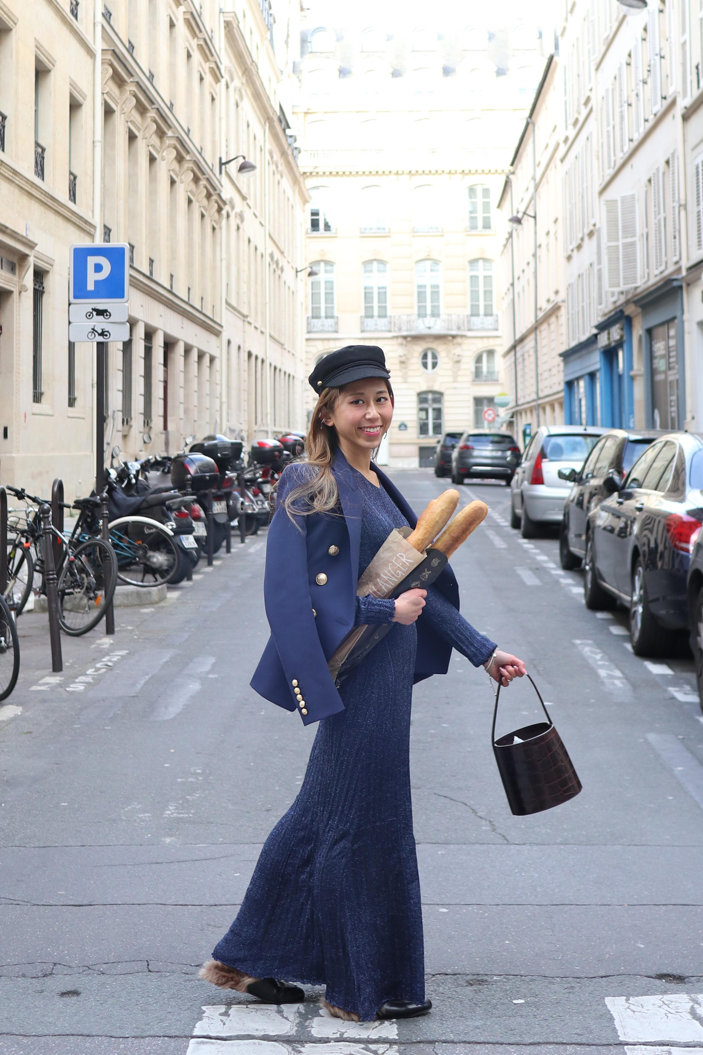- Dress: Zara blue maxiBlazer: BALMAIN wool blazer navyShoes: Gucci Princeton leather slippers (black)Bag: STAUD bissett bag brown faux crocHat: ASOS DESIGN sized wool mix baker boy cap