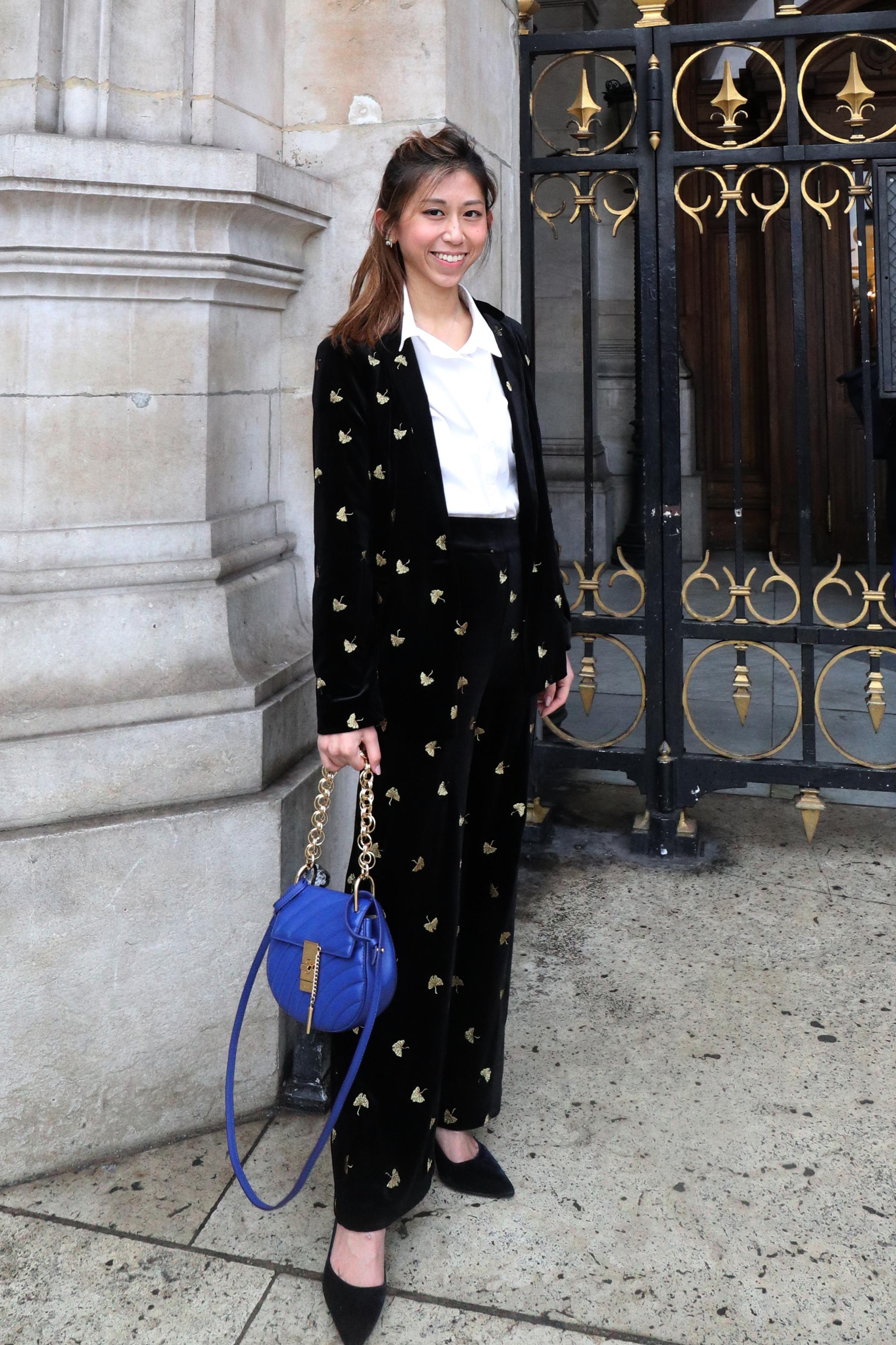 - Suit Top & Bottom: & OTHER STORIES embroidered velvet blazerTop: COS white shirtShoes: Prada velvet pumpsBag: CHLOÉ Drew Bijou Majesty Blue Leather