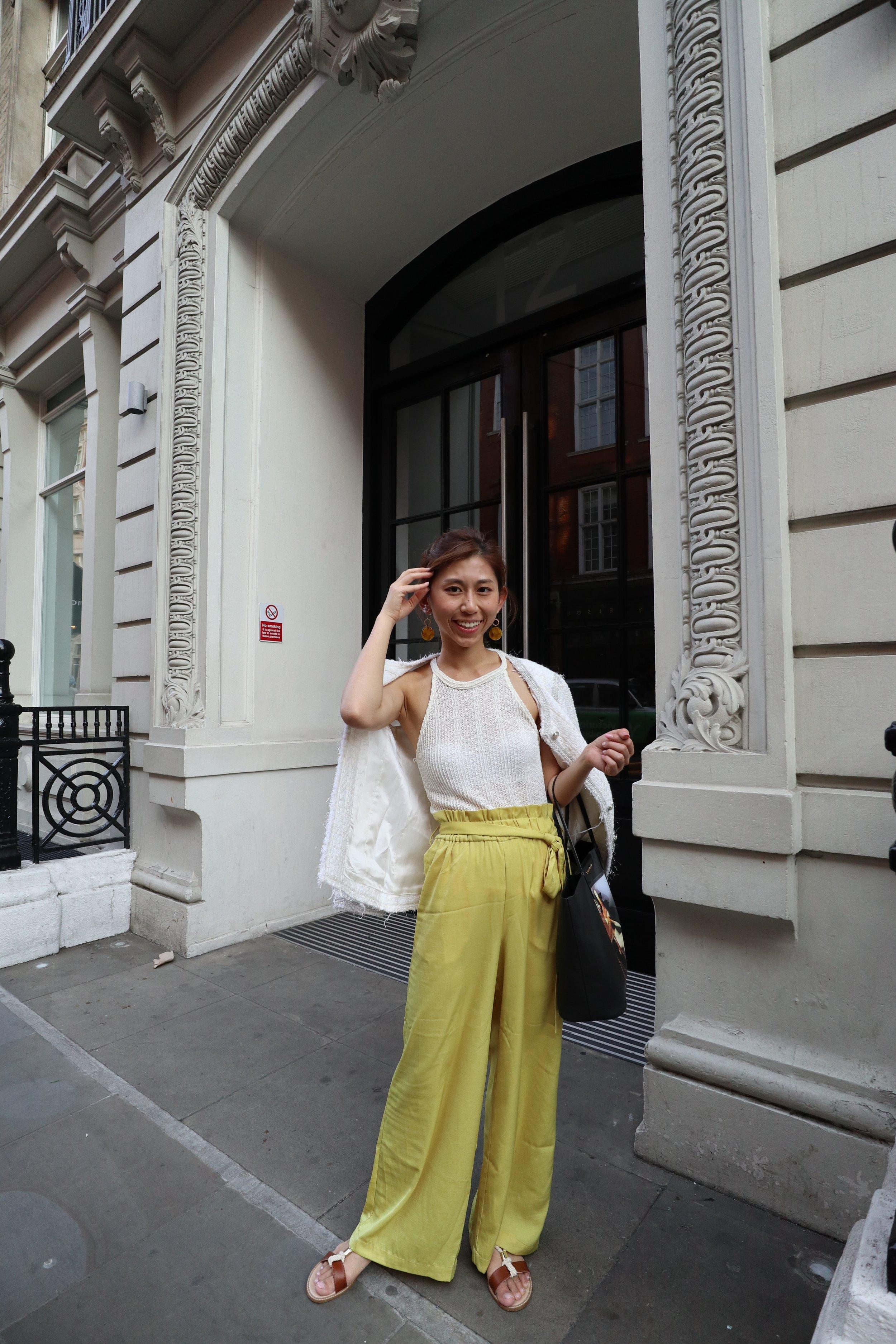 - Top: ZARA halter topBottom: MANGO yellow palazzoJacket: ZARA tweed jacketShoes: Pennyblack varnish and horsehide moccasinsBag: GIVENCHY bambi printed medium antigona shopping bag